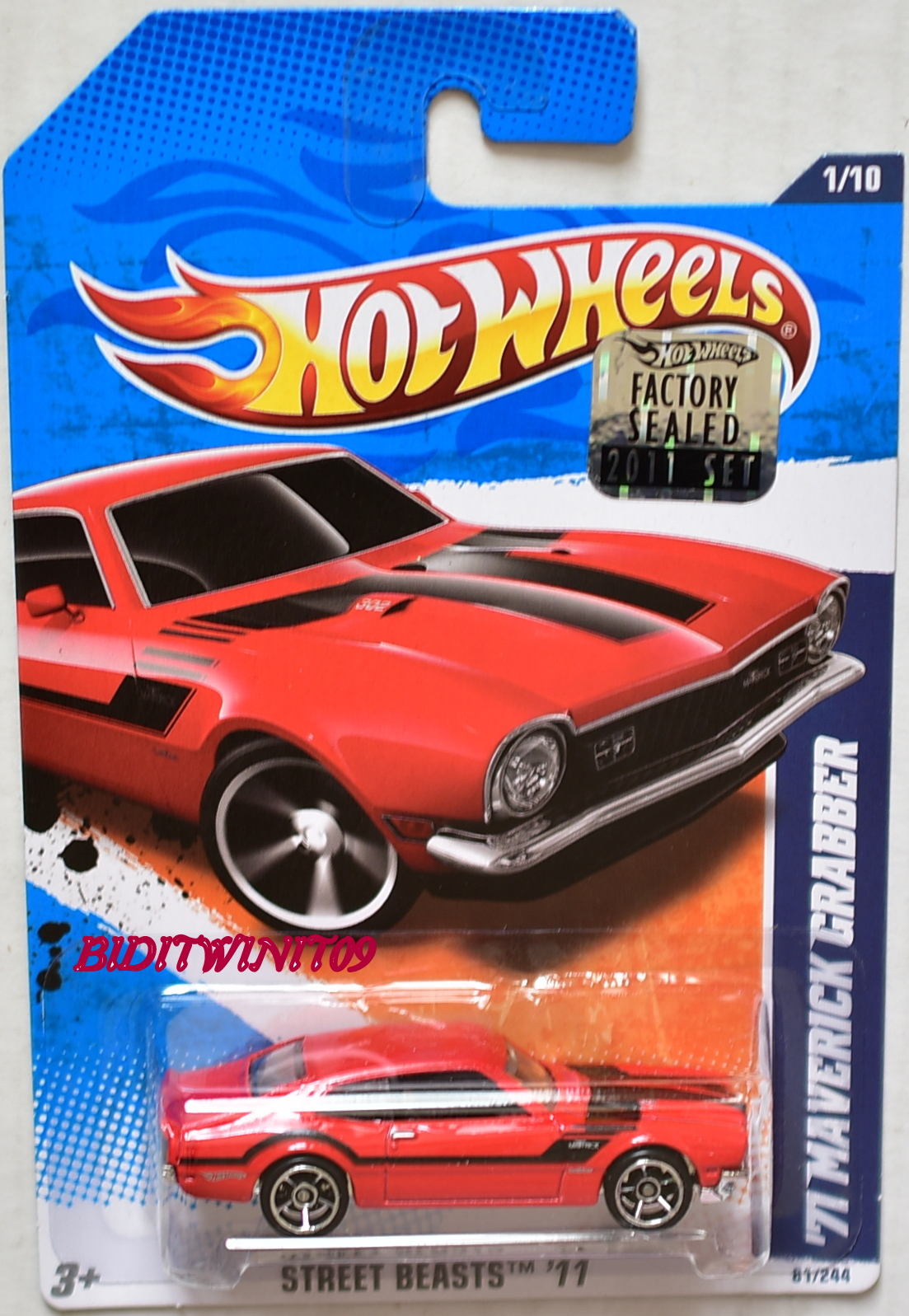 HOT WHEELS 2011 STREET BEASTS '71 MAVERICK CRABBER RED FACTORY SEALED