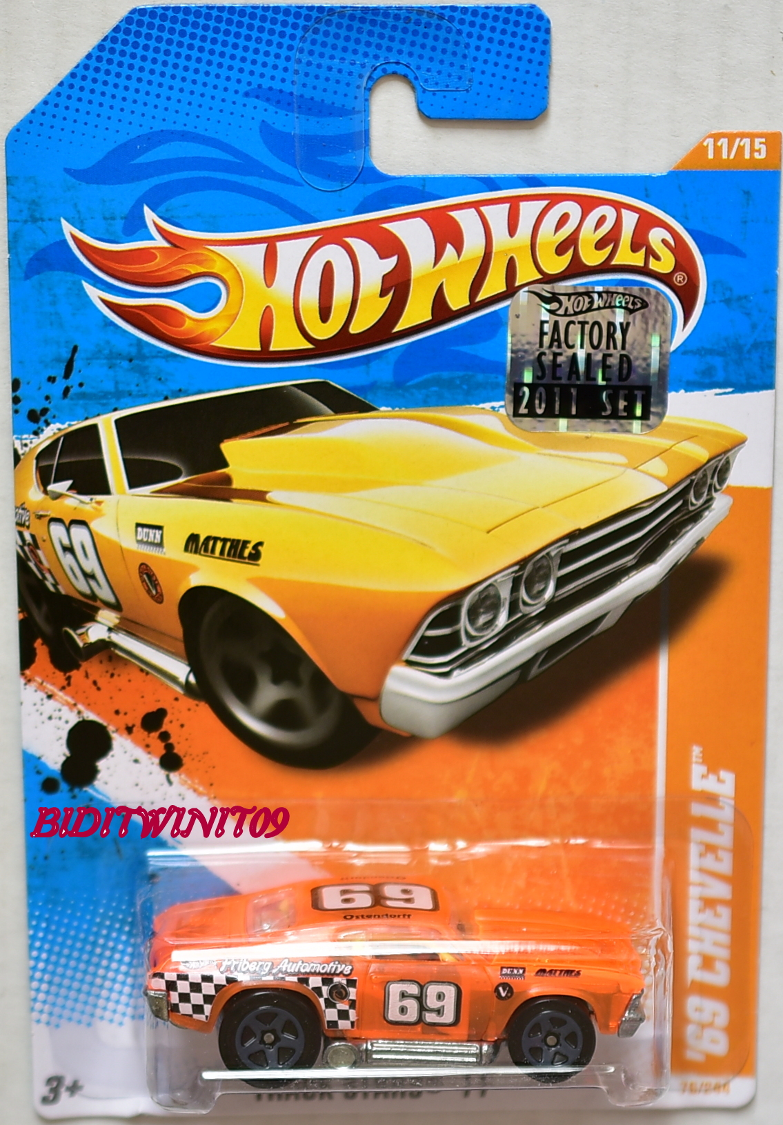 HOT WHEELS 2011 TRACK STARS '69 CHEVETTE #11/15 ORANGE FACTORY SEALED E+