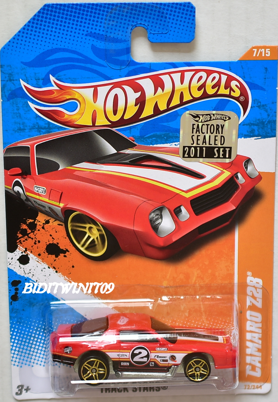 HOT WHEELS 2011 TRACK STARS CAMARO Z28 #7/15 RED FACTORY SEALED