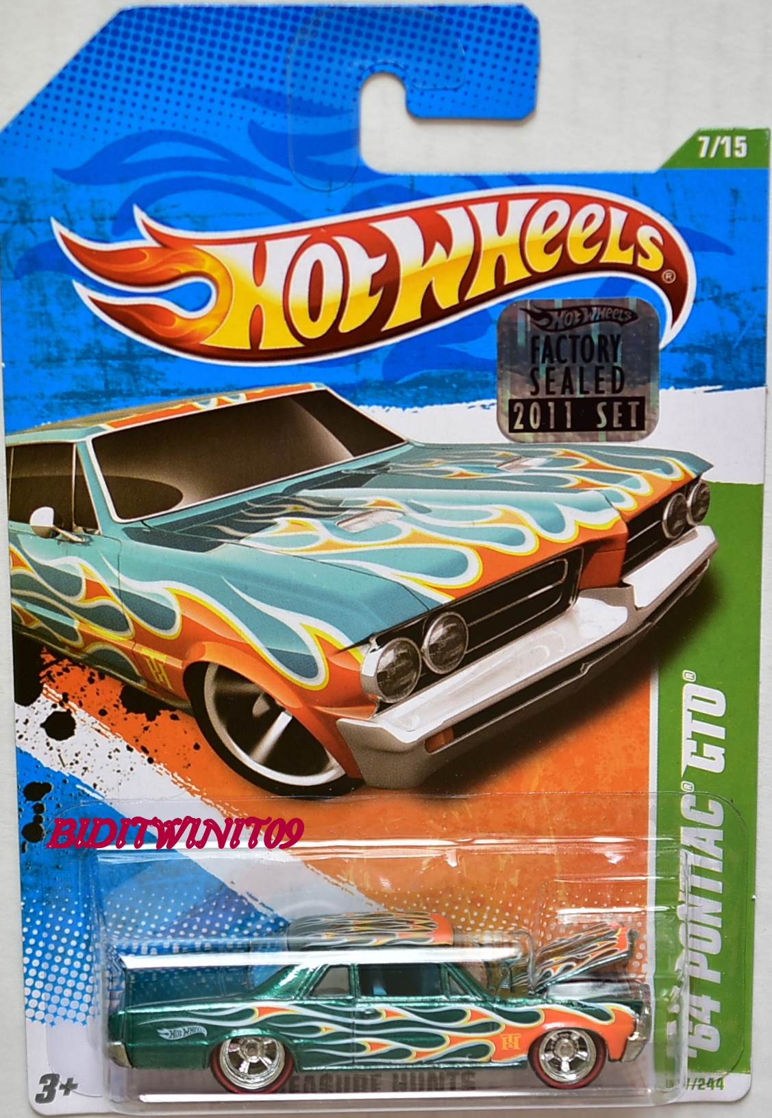 HOT WHEELS 2011 SUPER TREASURE HUNT '64 PONTIAC GTO FACTORY SEALED