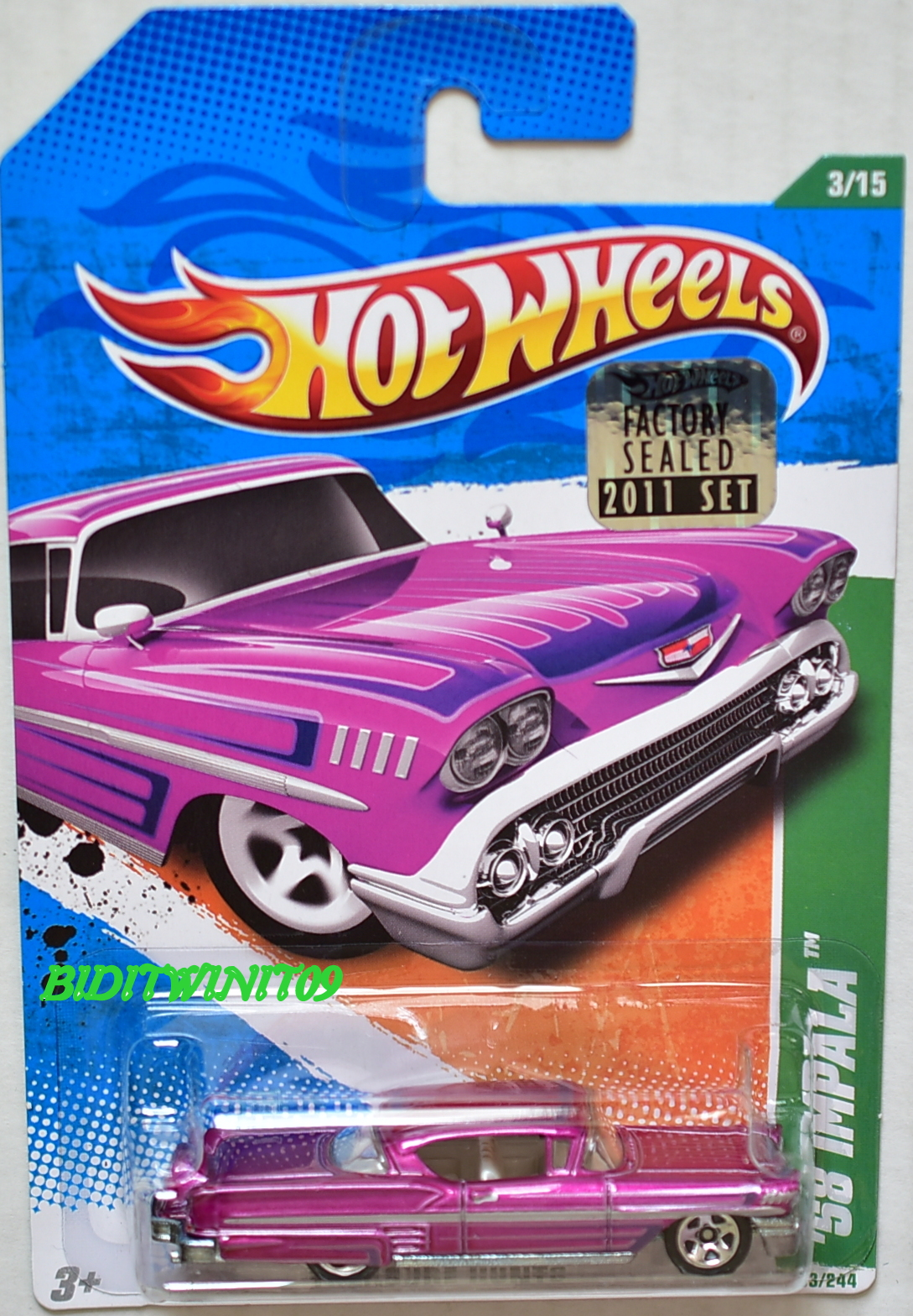 HOT WHEELS 2011 REGULAR TREASURE HUNT '58 IMPALA FACTORY SEALED