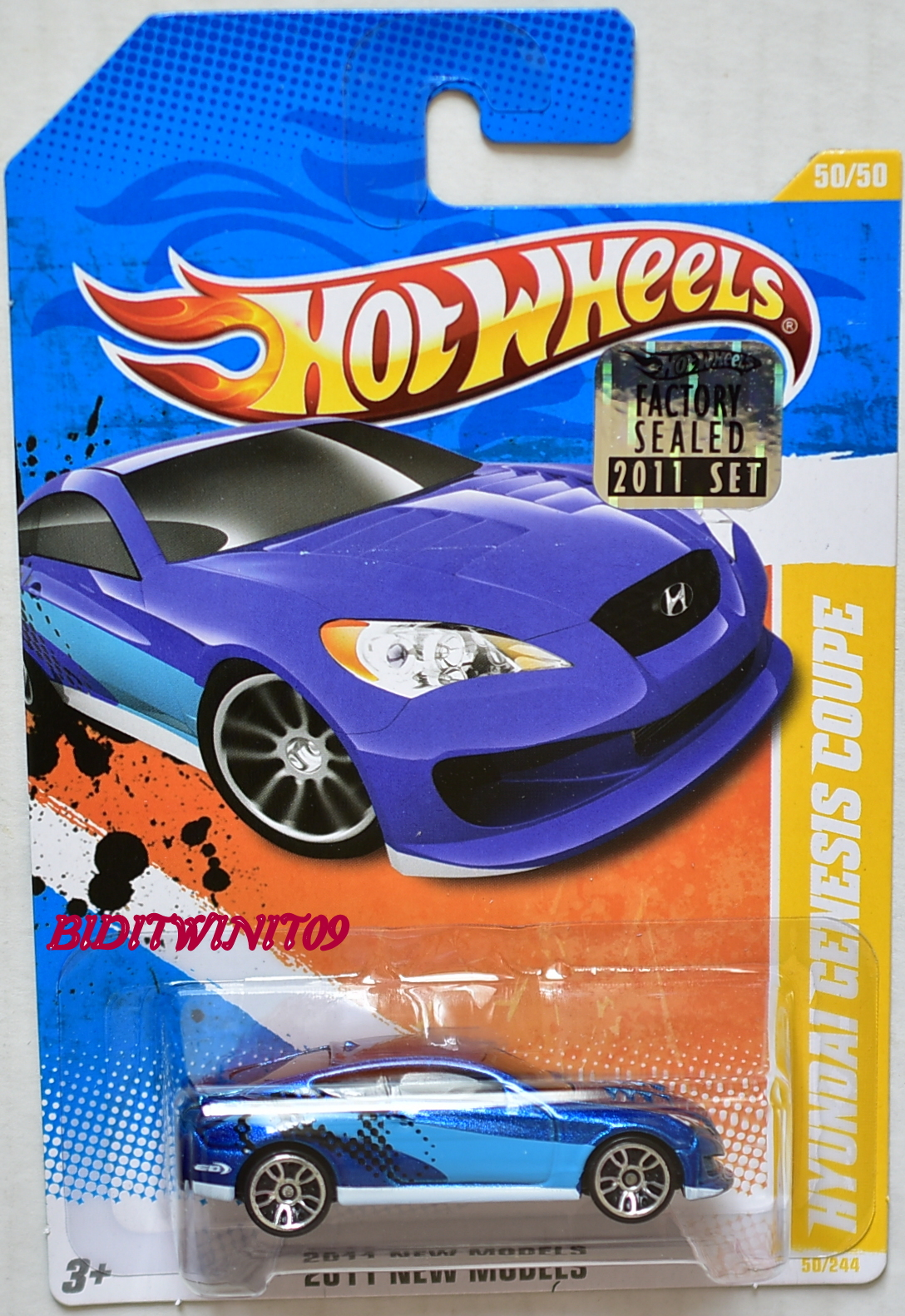 HOT WHEELS 2011 NEW MODELS HYUNDAI GENESIS COUPE BLUE FACTORY SEALED