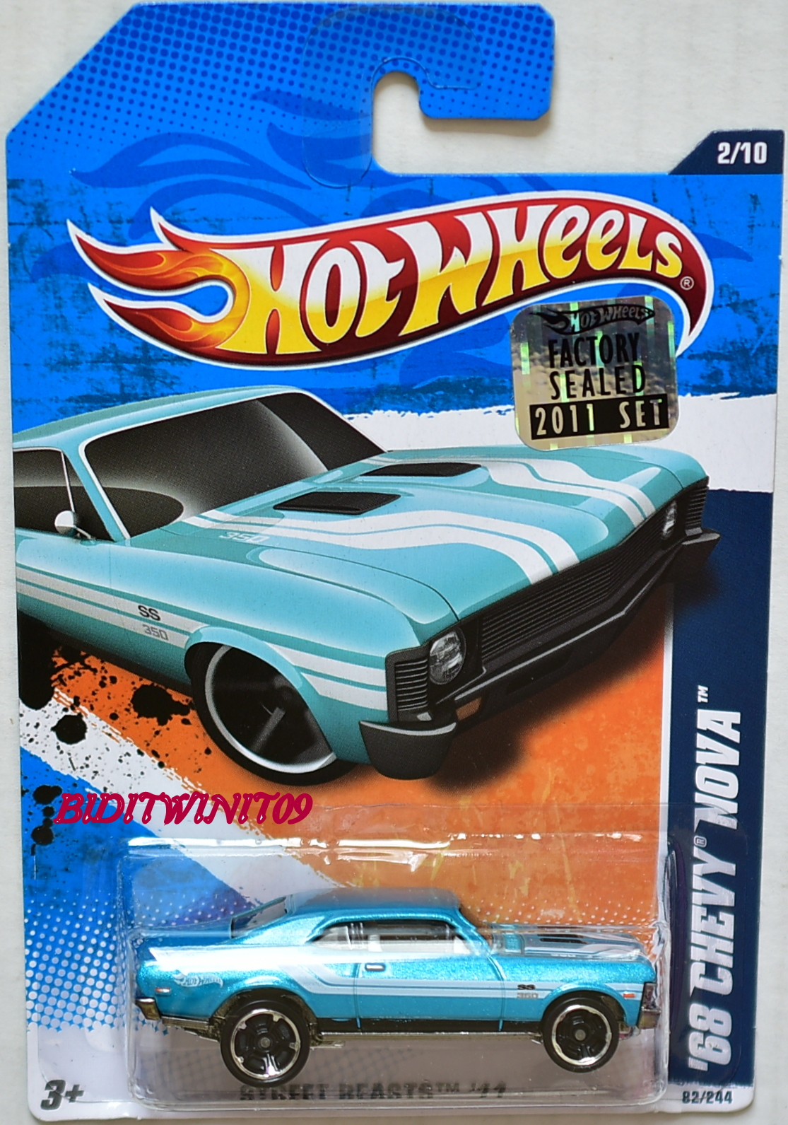 HOT WHEELS 2011 STREET BEASTS '68 CHEVY NOVA #2/10 FACTORY SEALED E+