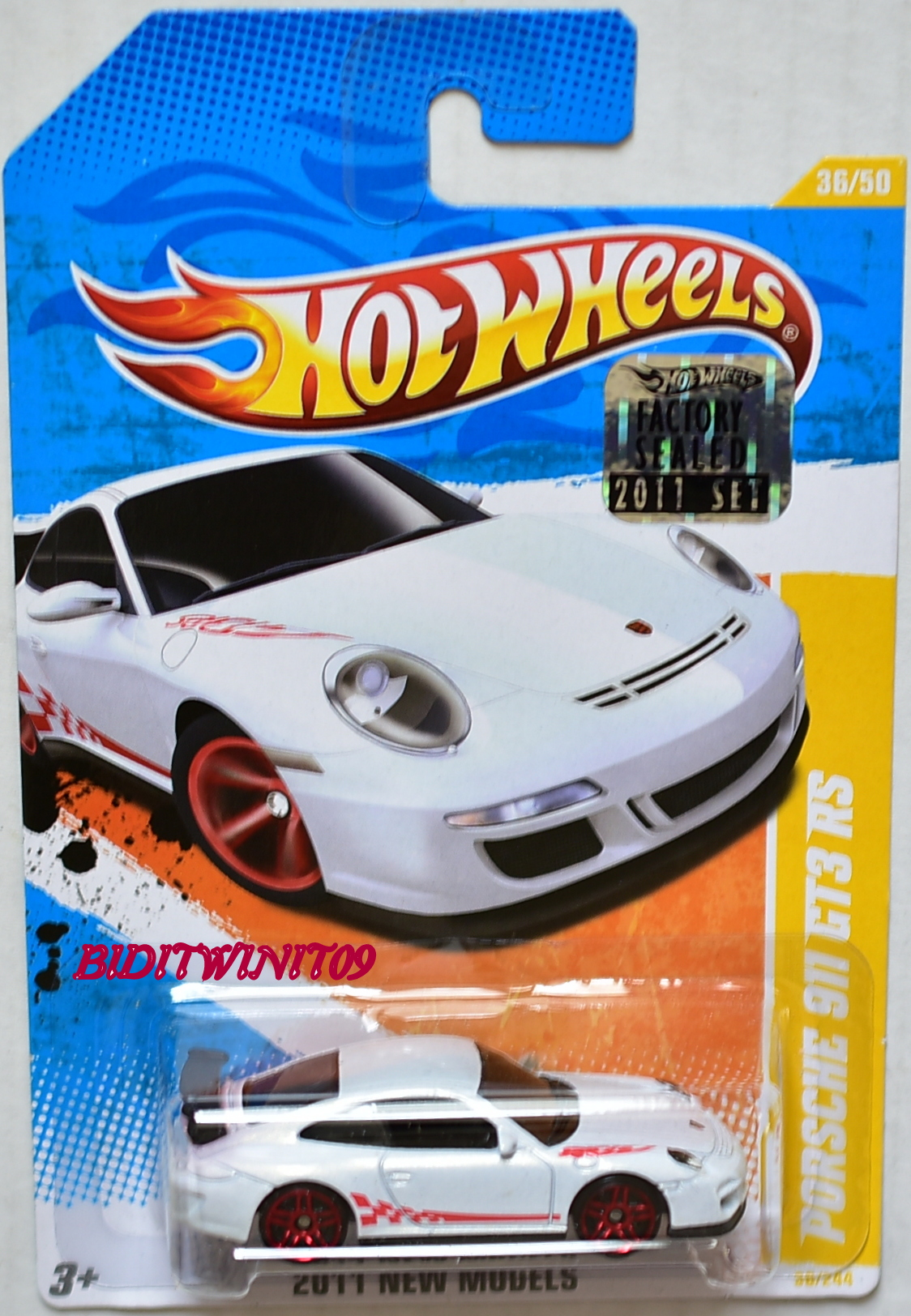 HOT WHEELS 2011 NEW MODELS PORSCHE 911 GT3 RS #36/50 WHITE FACTORY SEALED E+