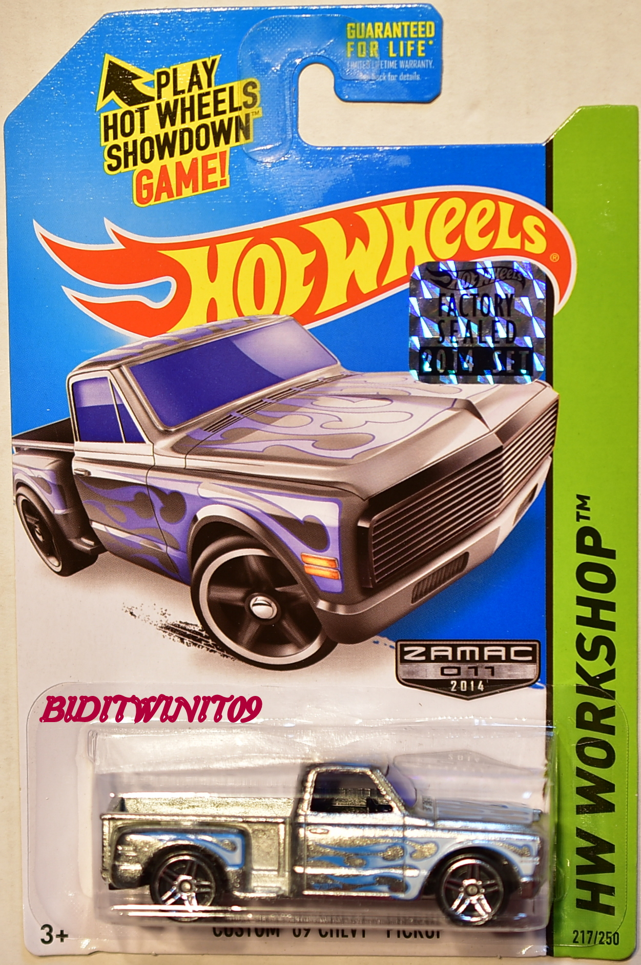 HOT WHEELS 2014 HW WORKSHOP CUSTOM 69 CHEVY PICKUP ZAMAC FACTORY SEALED
