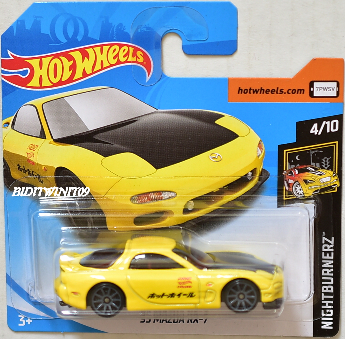 hot wheels 2018 nightburnerz 95 mazda rx 7 4 10 yellow short card 0003718. Black Bedroom Furniture Sets. Home Design Ideas
