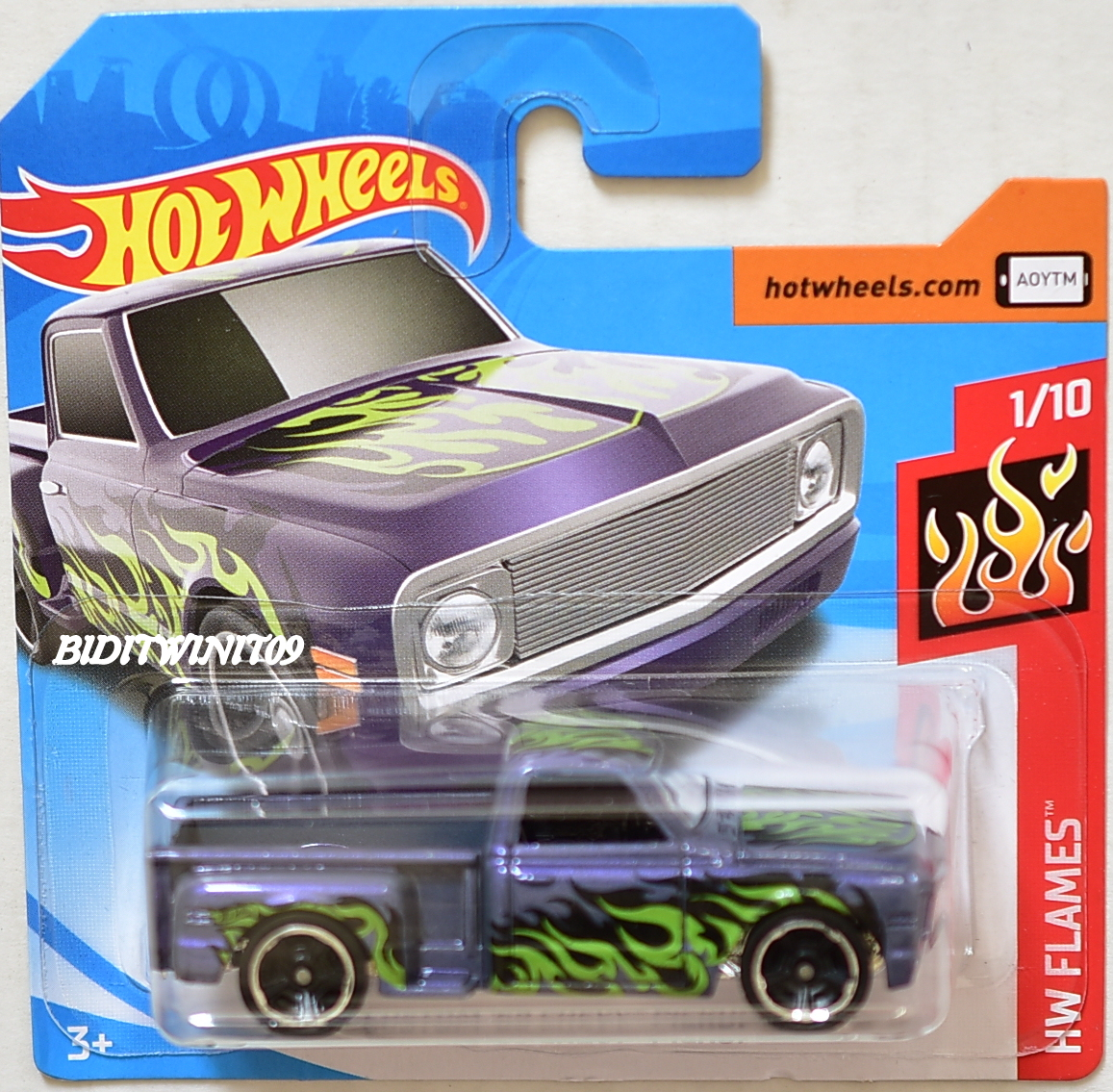 hot wheels 2018 hw flames custom 69 chevy pickup purple short card 0003711. Black Bedroom Furniture Sets. Home Design Ideas