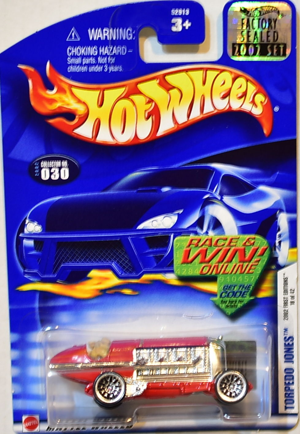 HOT WHEELS 2002 FIRST EDITIONS TORPEDO JONES #030 FACTORY SEALED