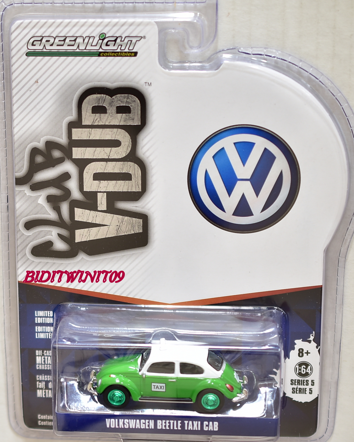 GREENLIGHT 2017 CLUB V-DUB SERIES 5 VOLKSWAGEN BEETLE TAXI CAB GREEN MACHINE