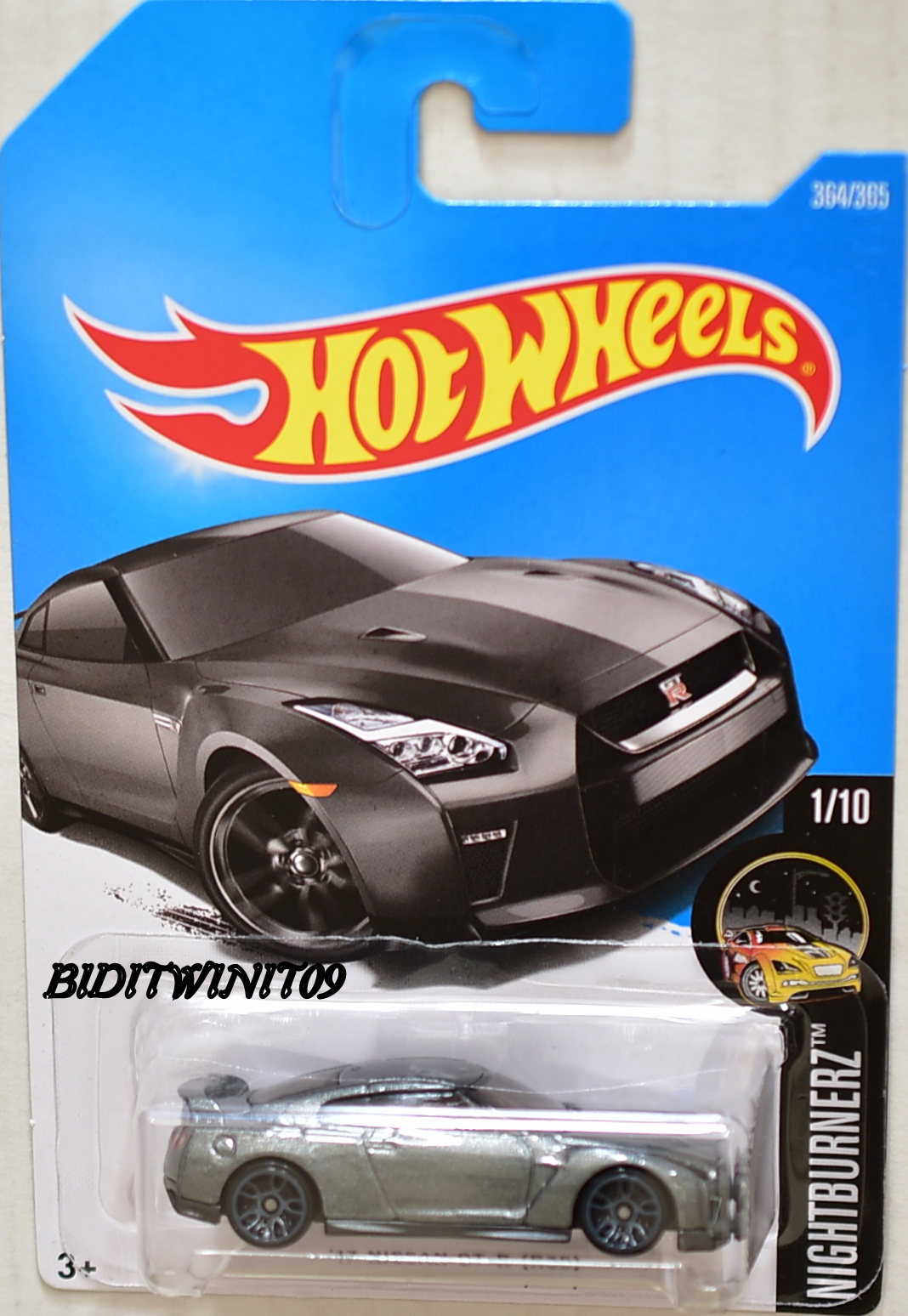 Hot Wheels 2017 Nightburnerz 17 Nissan Gt R R35 Grey