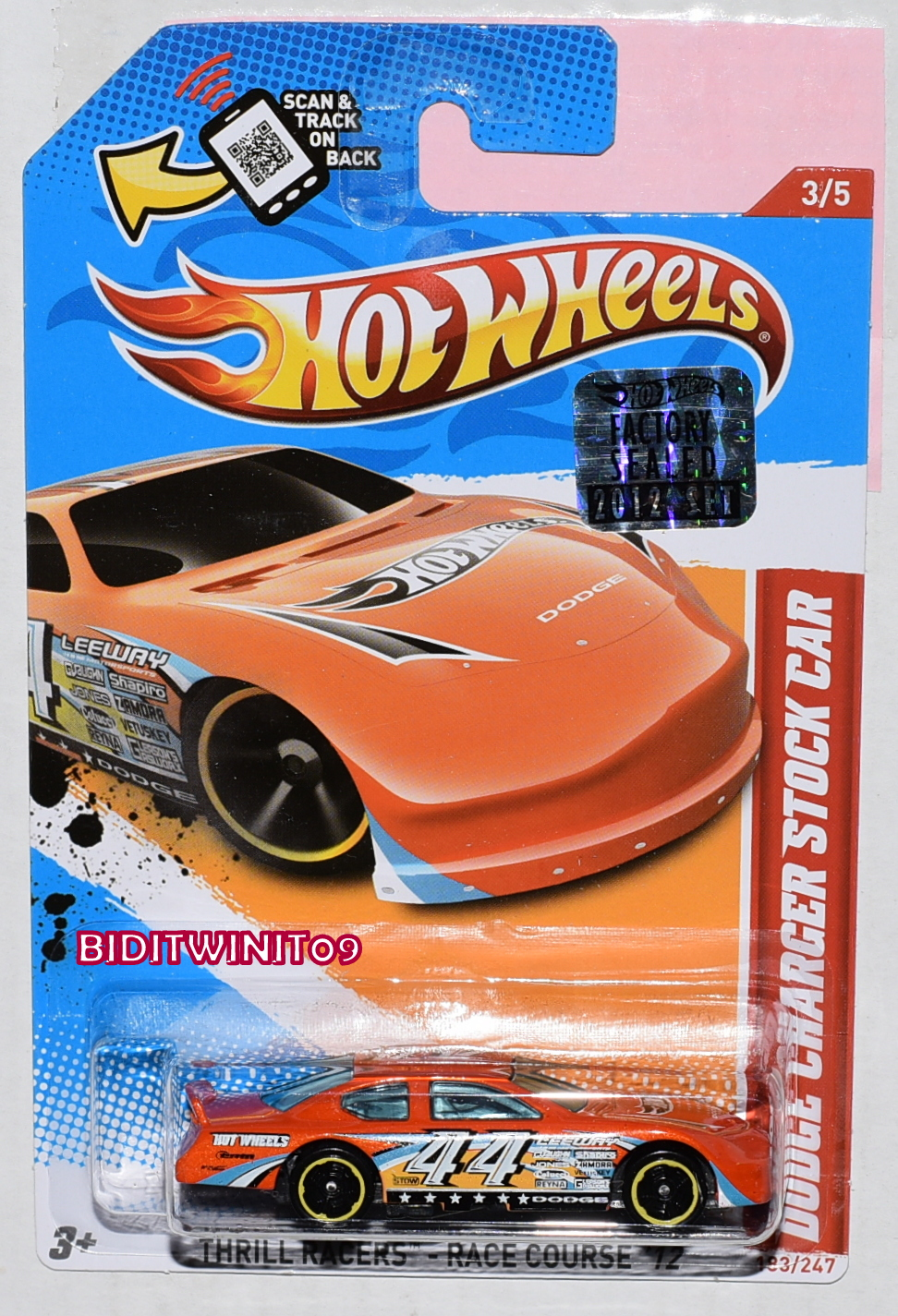 HOT WHEELS 2012 THRILL RACERS DODGE CHARGER STOCK CAR ORANGE FACTORY SEALED