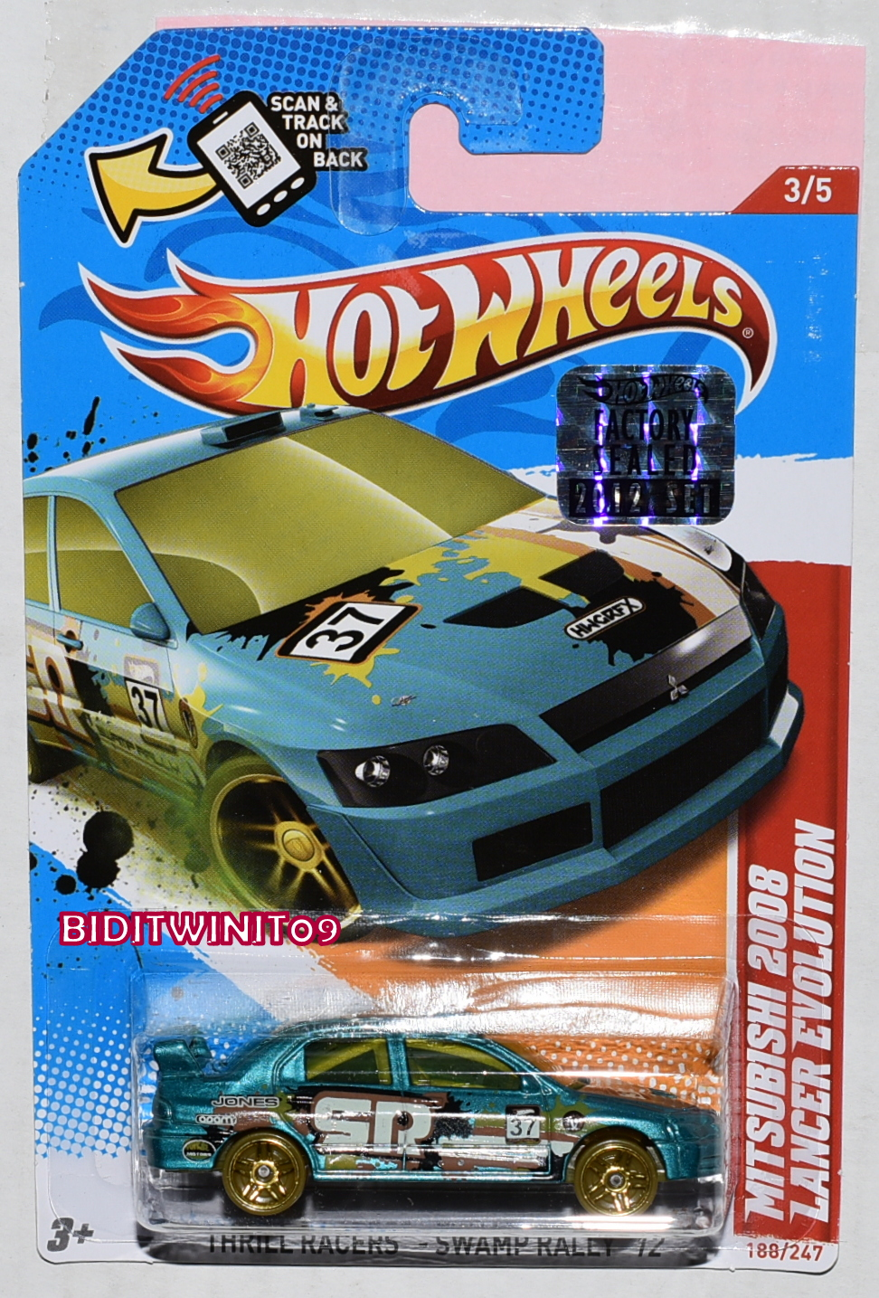HOT WHEELS 2012 THRILL RACERS MITSUBISHI 2008 LANCER EVOLUTION FACTORY SEALED