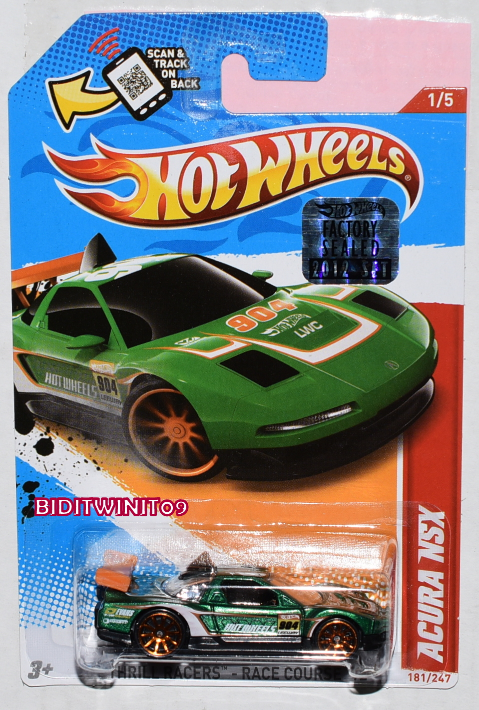 HOT WHEELS 2012 THRILL RACERS-RACE COURSE ACURA NSX #1/5 GREEN FACTORY SEALED