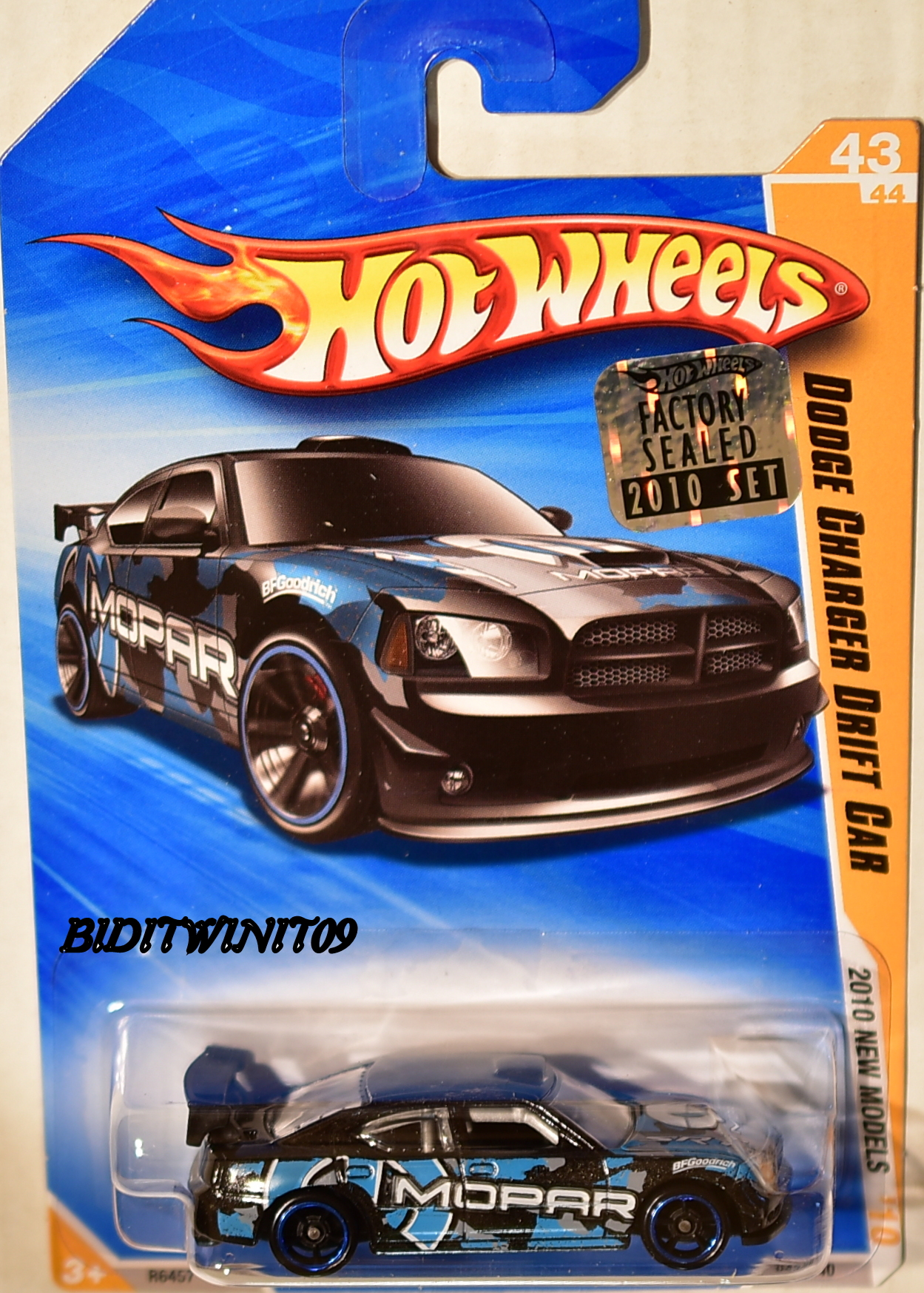 HOT WHEELS 2010 NEW MODELS DODGE CHARGER DRIFT CAR BLACK FACTORY SEALED E+