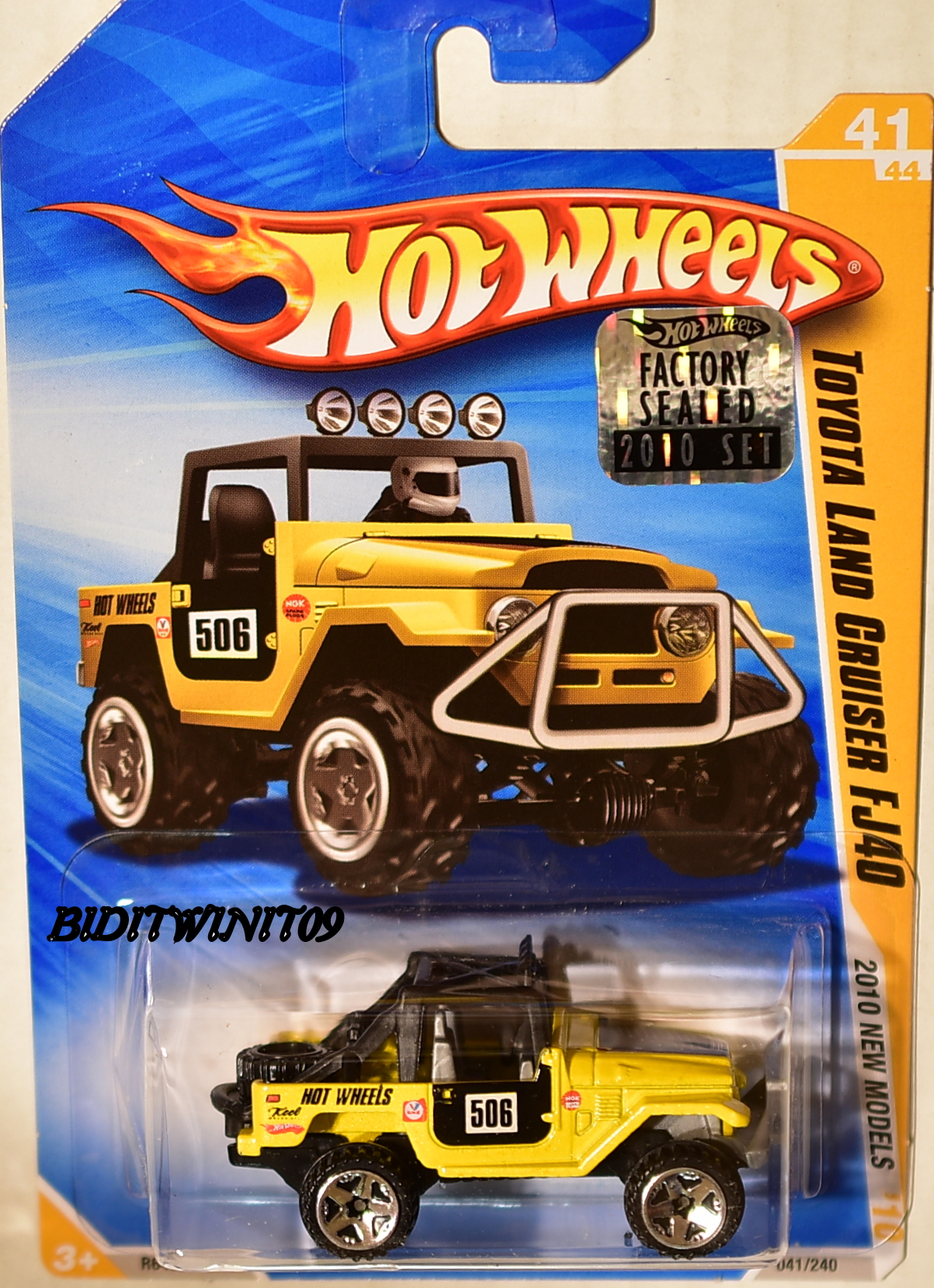 HOT WHEELS 2010 NEW MODELS TOYOTA LAND CRUISER FJ40 YELLOW FACTORY SEALED E+