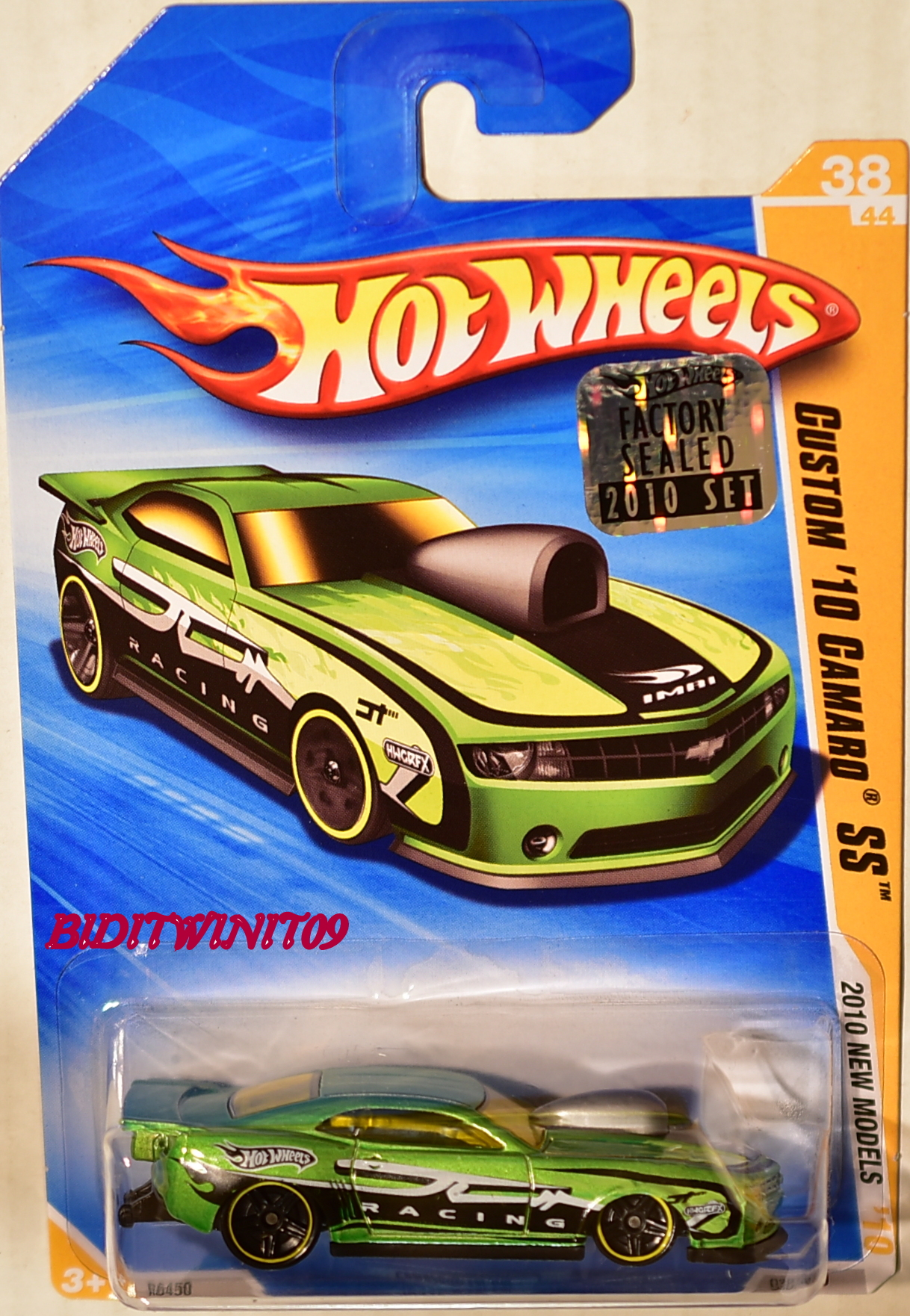 HOT WHEELS 2010 NEW MODELS CUSTOM '10 CAMARO SS #38/44 GREEN FACTORY SEALED E+