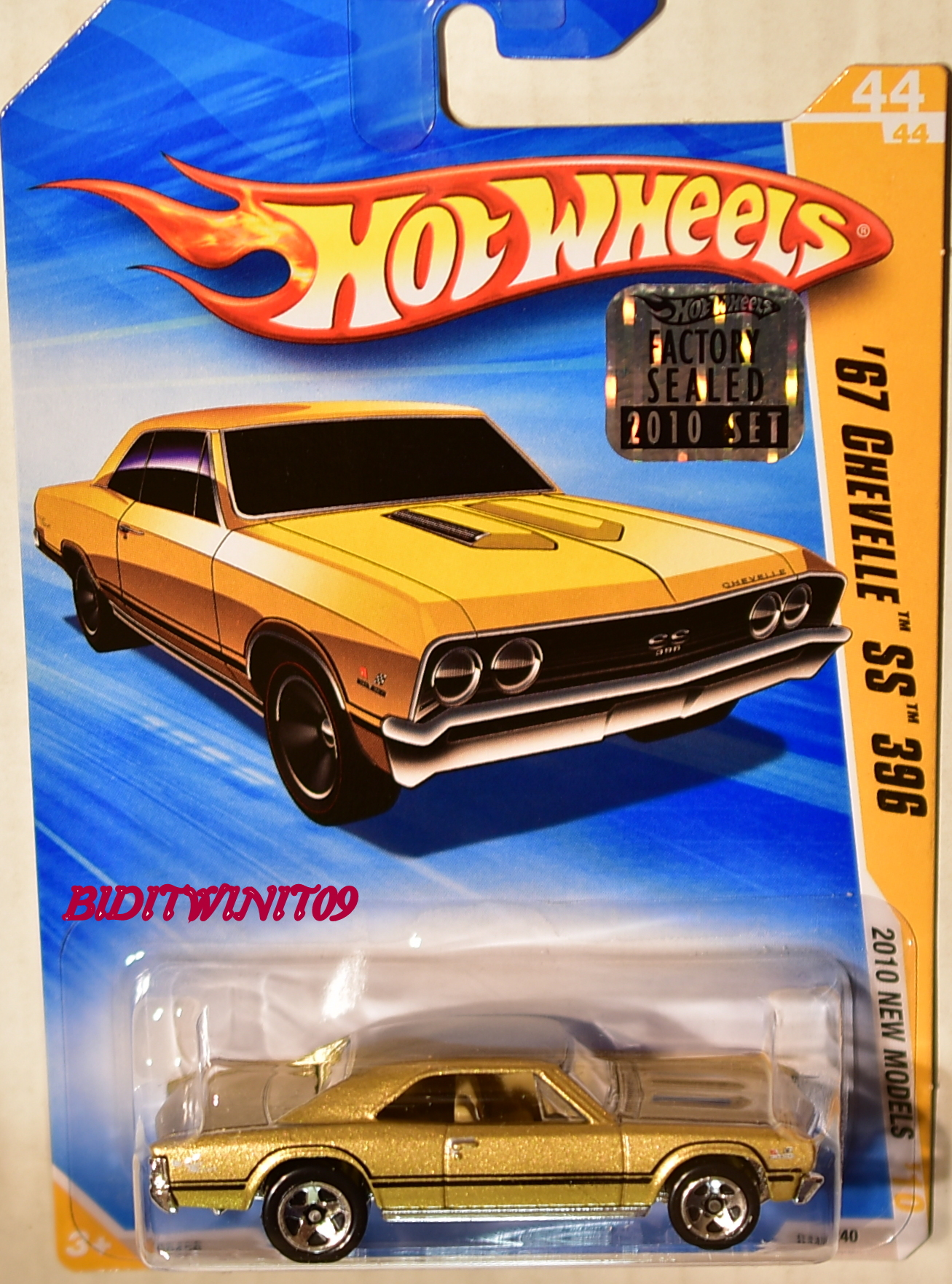 HOT WHEELS 2010 NEW MODELS '67 CHEVELLE SS 396 #44/44 GOLD FACTORY SEALED E+