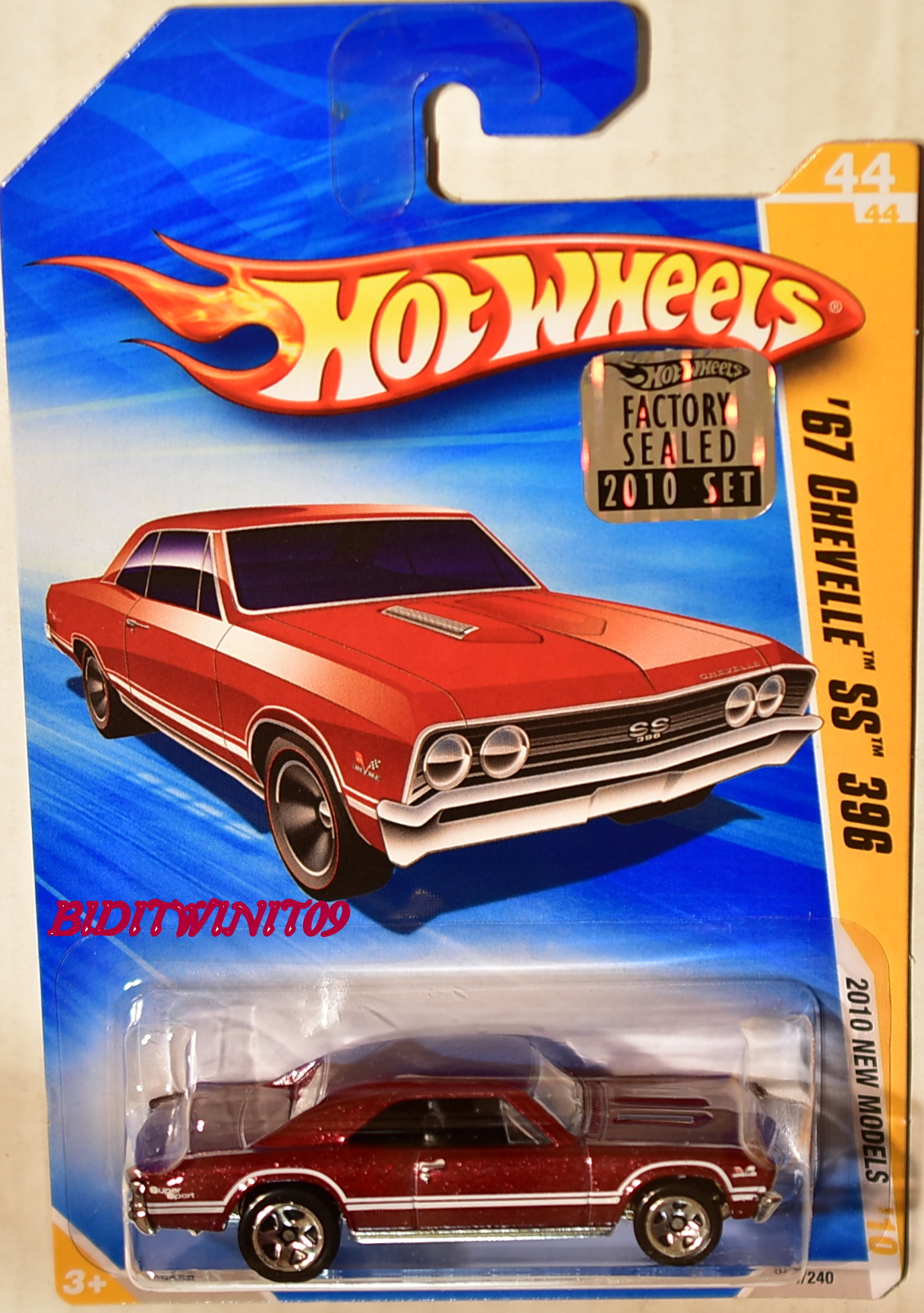 HOT WHEELS 2010 NEW MODELS '67 CHEVELLE SS 396 #44/44 RED FACTORY SEALED E+
