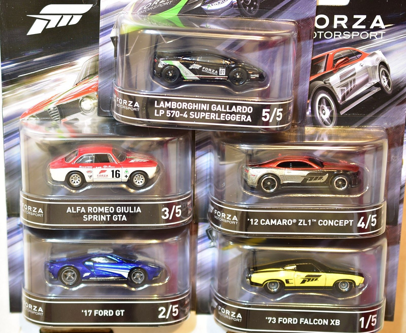 HOT WHEELS 2016 RETRO ENTERTAINMENT COMPLETE SET OF 5 RELEASE D FORZA