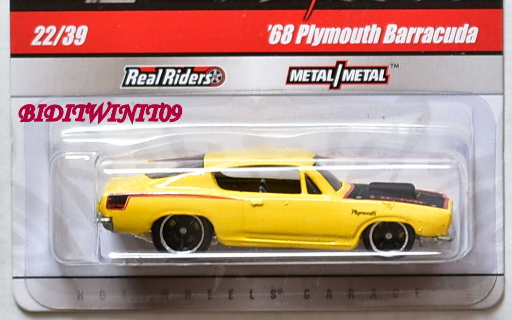 HOT WHEELS PHIL'S GARAGE '68 PLYMOUTH BARRACUDA YELLOW E+