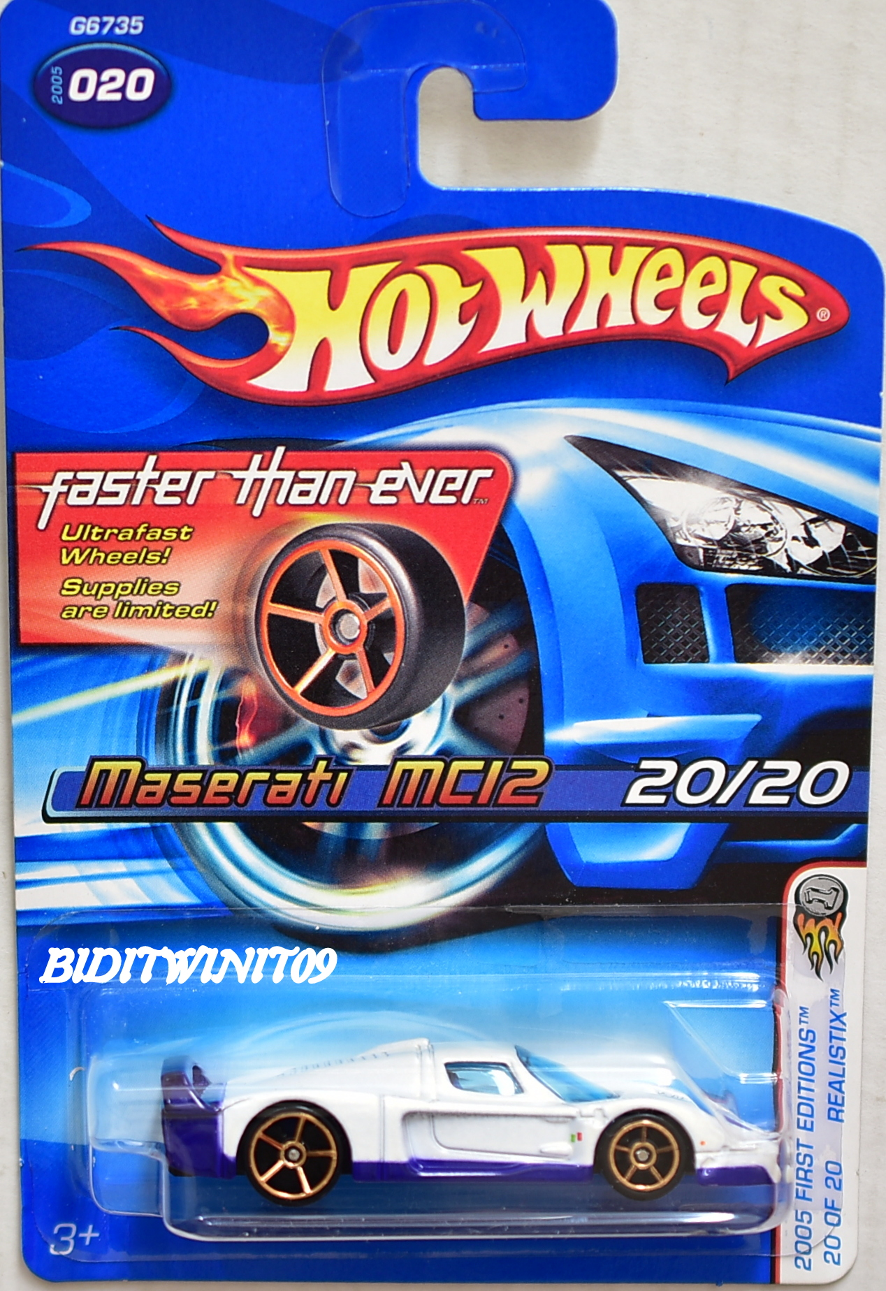 HOT WHEELS 2005 FIRST EDITIONS FTE MASERATI MCI2 #020 REALISTIX WHITE