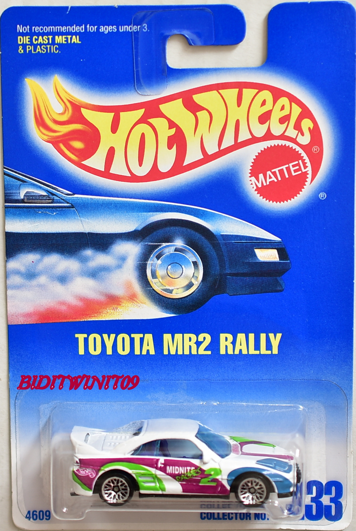 HOT WHEELS 1991 BLUE CARD COLL #233 TOYOTA MR2 RALLY WHITE