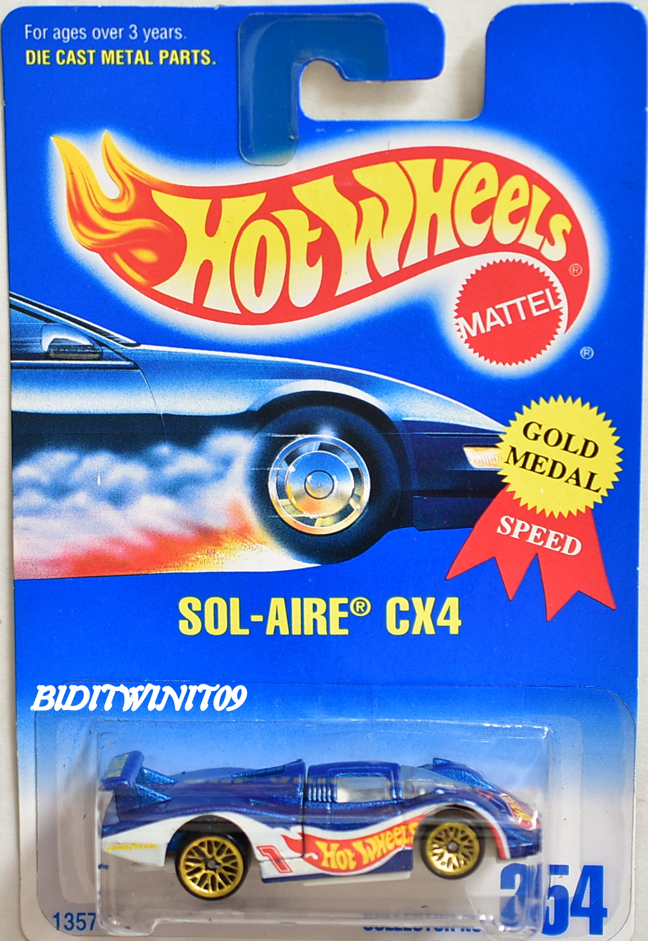 HOT WHEELS 1991 SOL-AIRE CX4 BLUE CARD WIRE TIRES #254