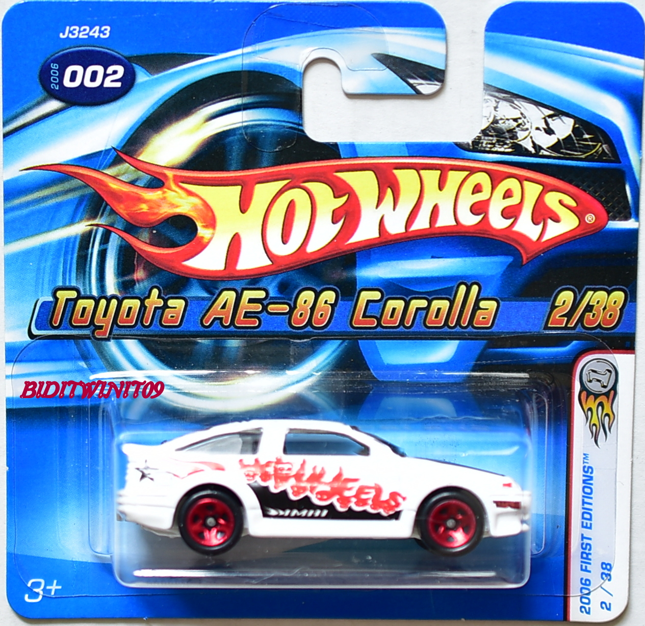 Hot Wheels 2006 First Editions Toyota Ae 86 Corolla 2 38 White Short Hotwheels Red Card
