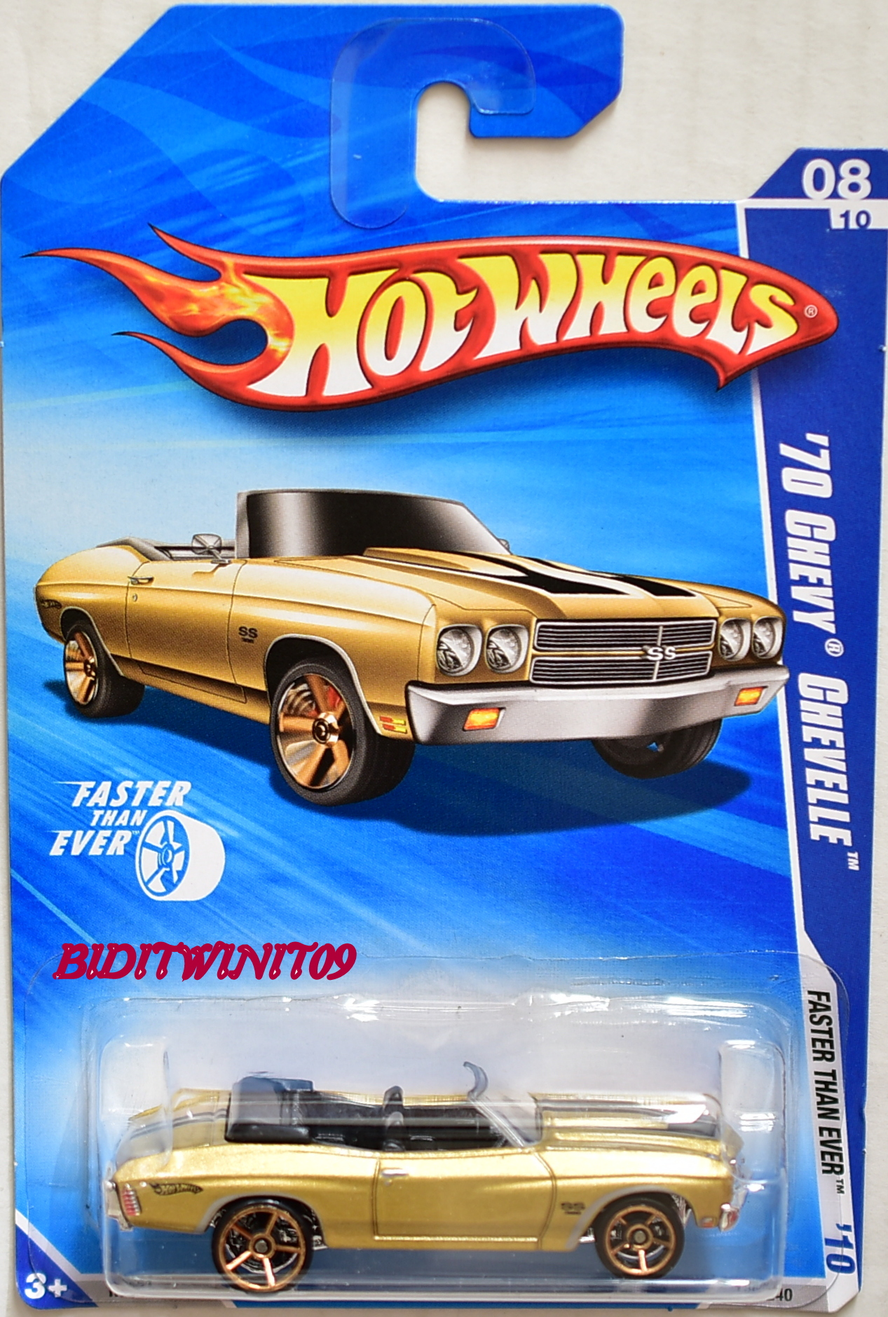 HOT WHEELS 2010 '70 CHEVY CHEVELLE FASTER THAN EVER 8/10