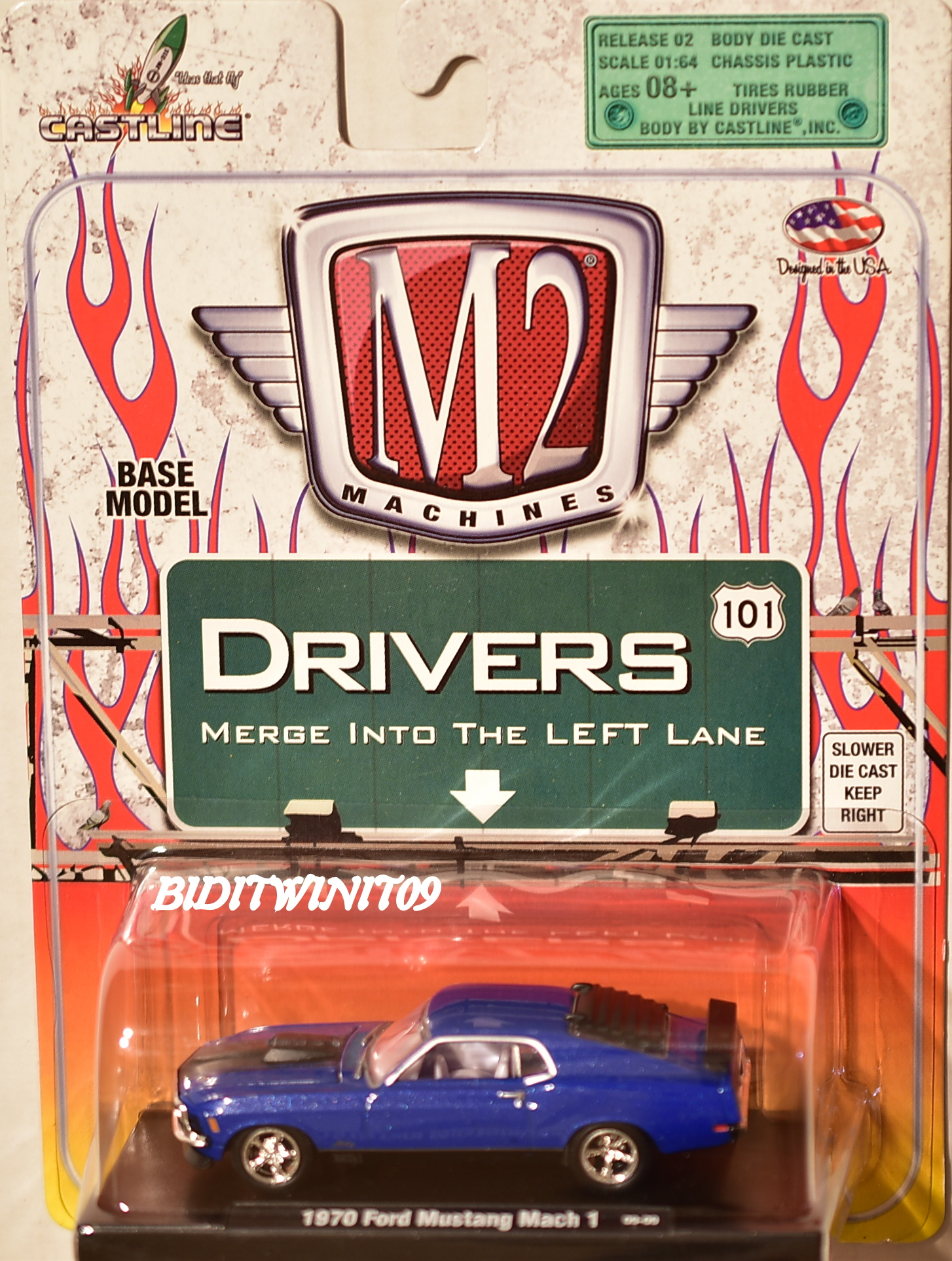 M2 MACHINES AUTO-DRIVERS 1970 FORD MUSTANG MACH 1 09-09 BLUE E+