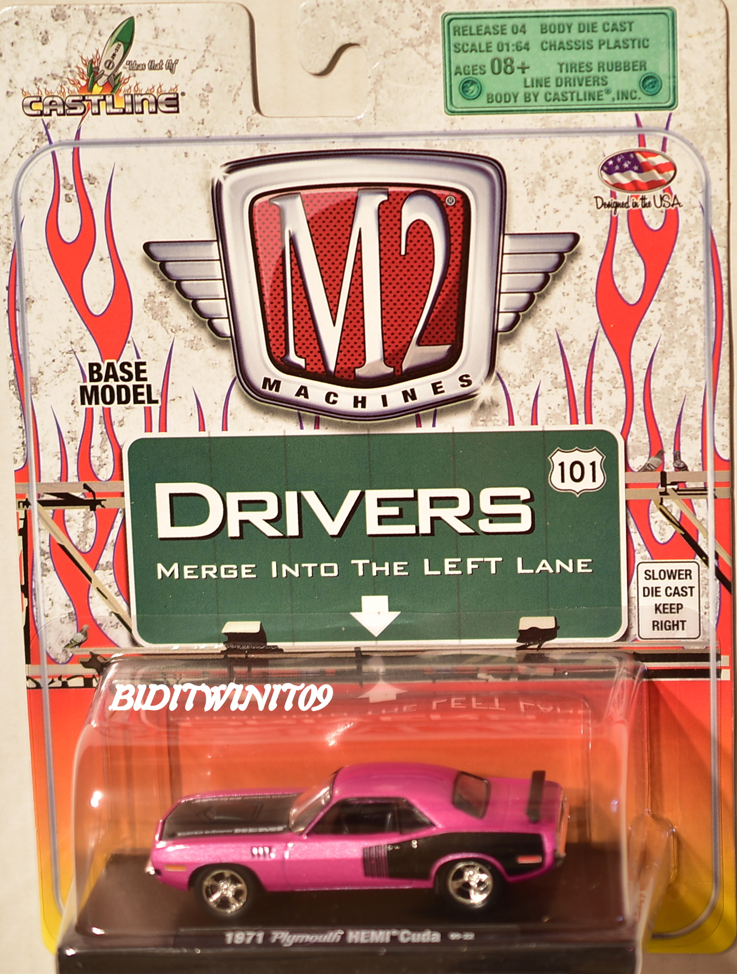 M2 MACHINES AUTO-DRIVERS 1971 PLYMOUTH CUDA 09-08 PINK E+