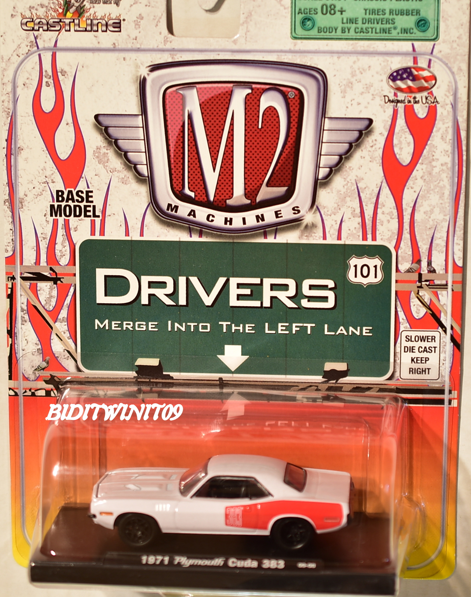 M2 MACHINES AUTO-DRIVERS 1971 PLYMOUTH CUDA 383 09-08 WHITE E+