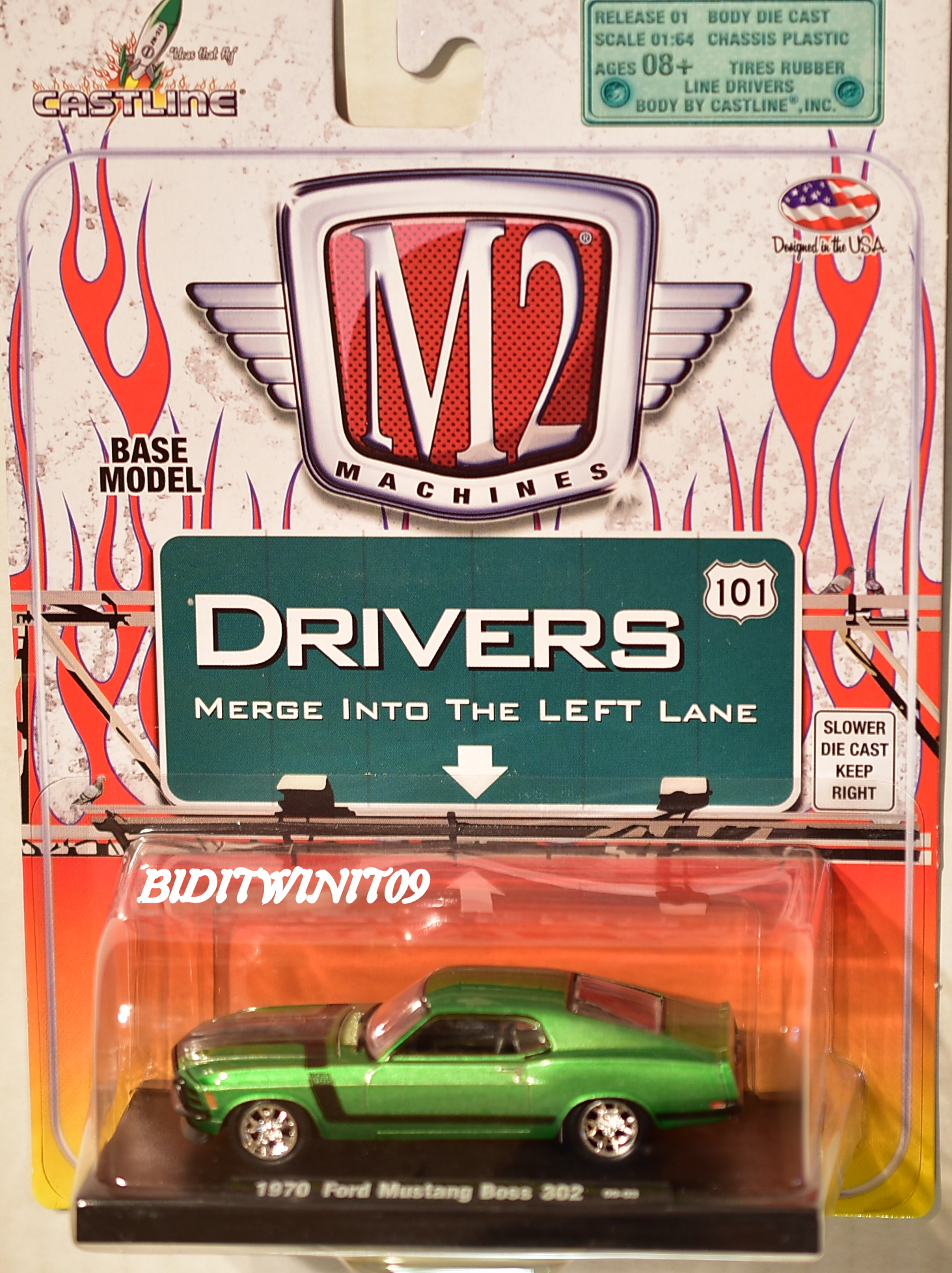 M2 MACHINES AUTO-DRIVERS 1970 FORD MUSTANG BOSS 302 09-06 GREEN E+