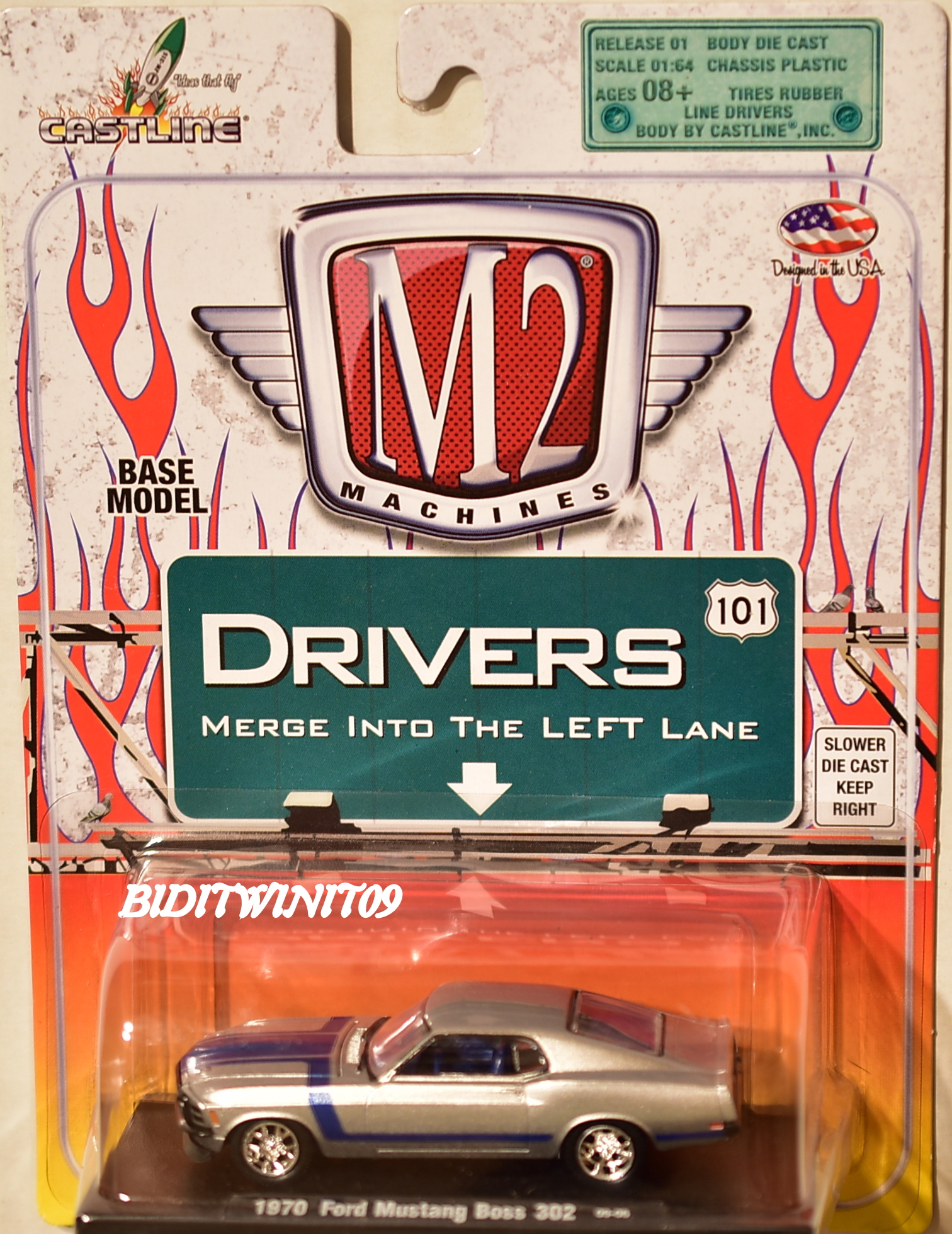 M2 MACHINES AUTO-DRIVERS 1970 FORD MUSTANG BOSS 302 09-06 SILVER E+