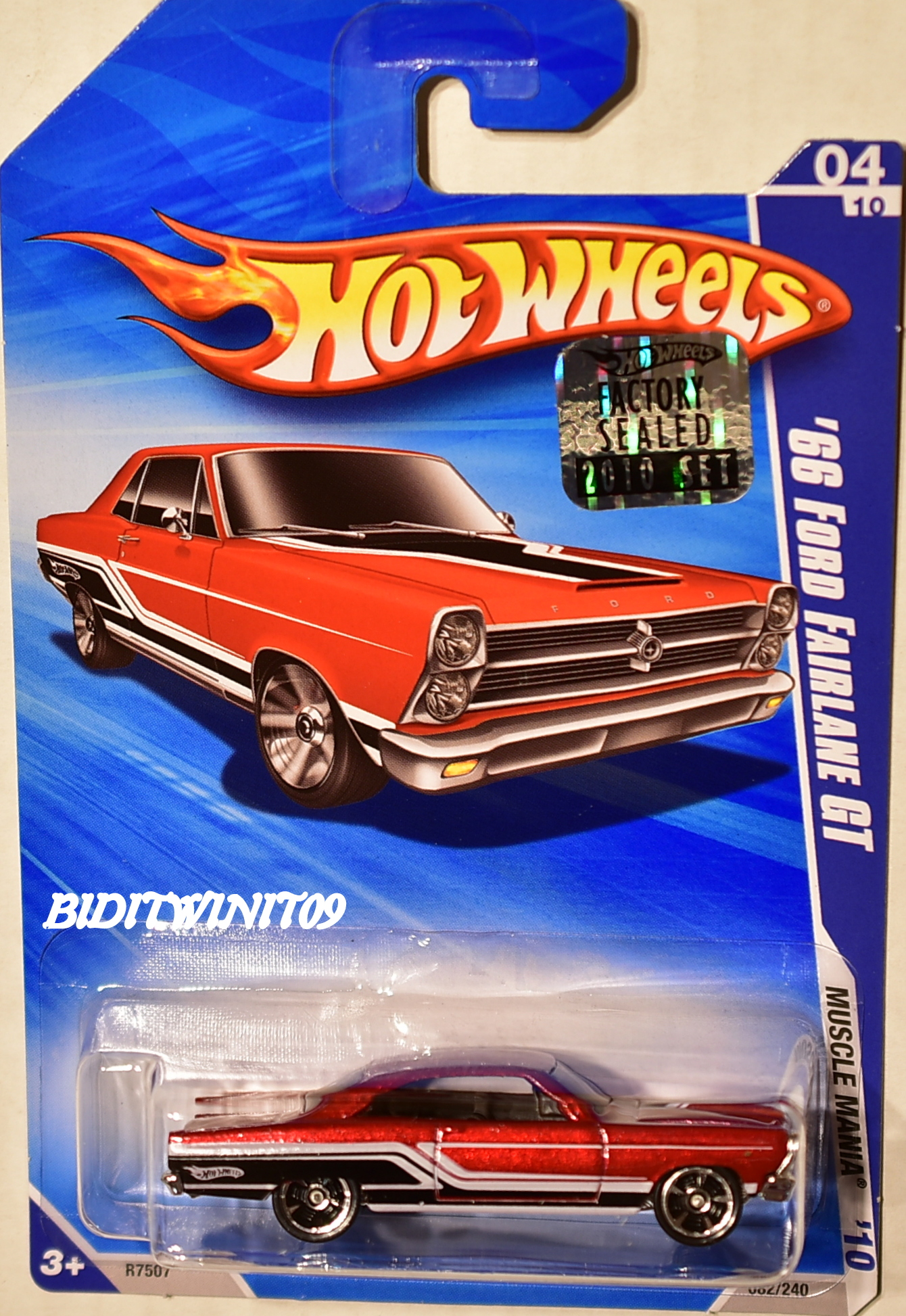 HOT WHEELS 2010 MUSCLE MANIA '66 FORD FAIRLANE GT RED FACTORY SEALED