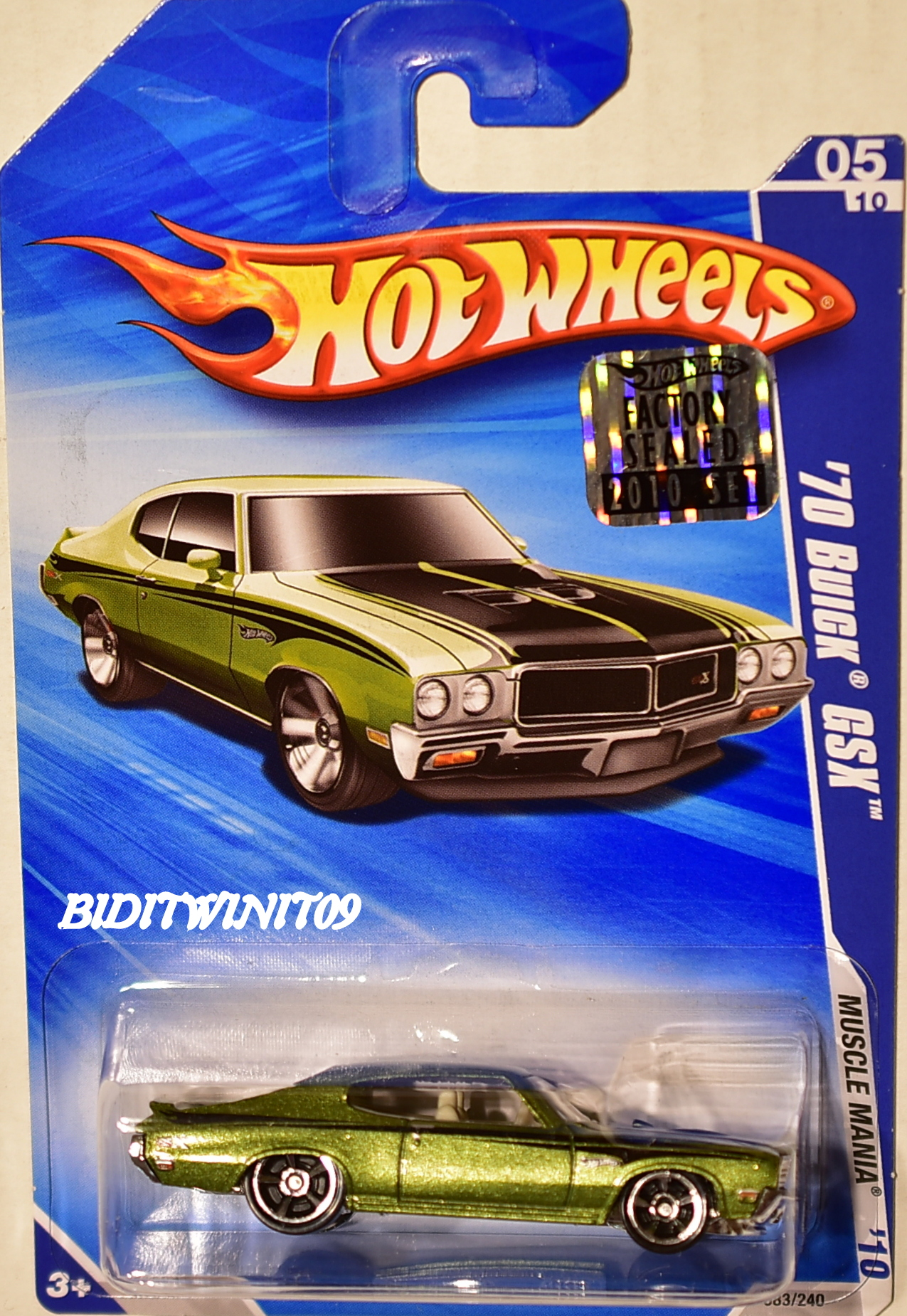 HOT WHEELS 2010 MUSCLE MANIA '70 BUICK GSX GREEN FACTORY SEALED E+