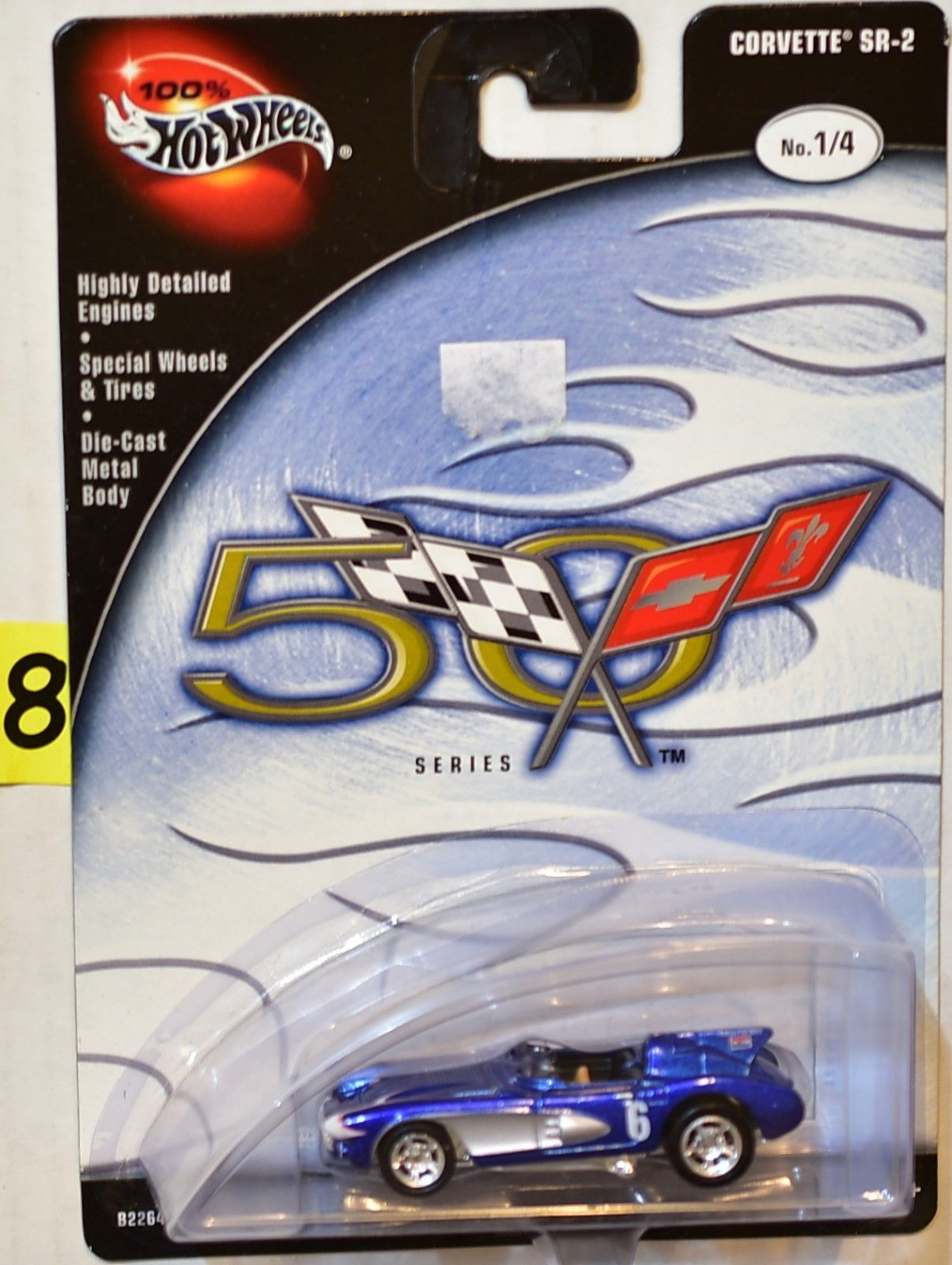 100% HOT WHEELS 50TH ANNIVERSARY SERIES CORVETTE SR-2 BLUE