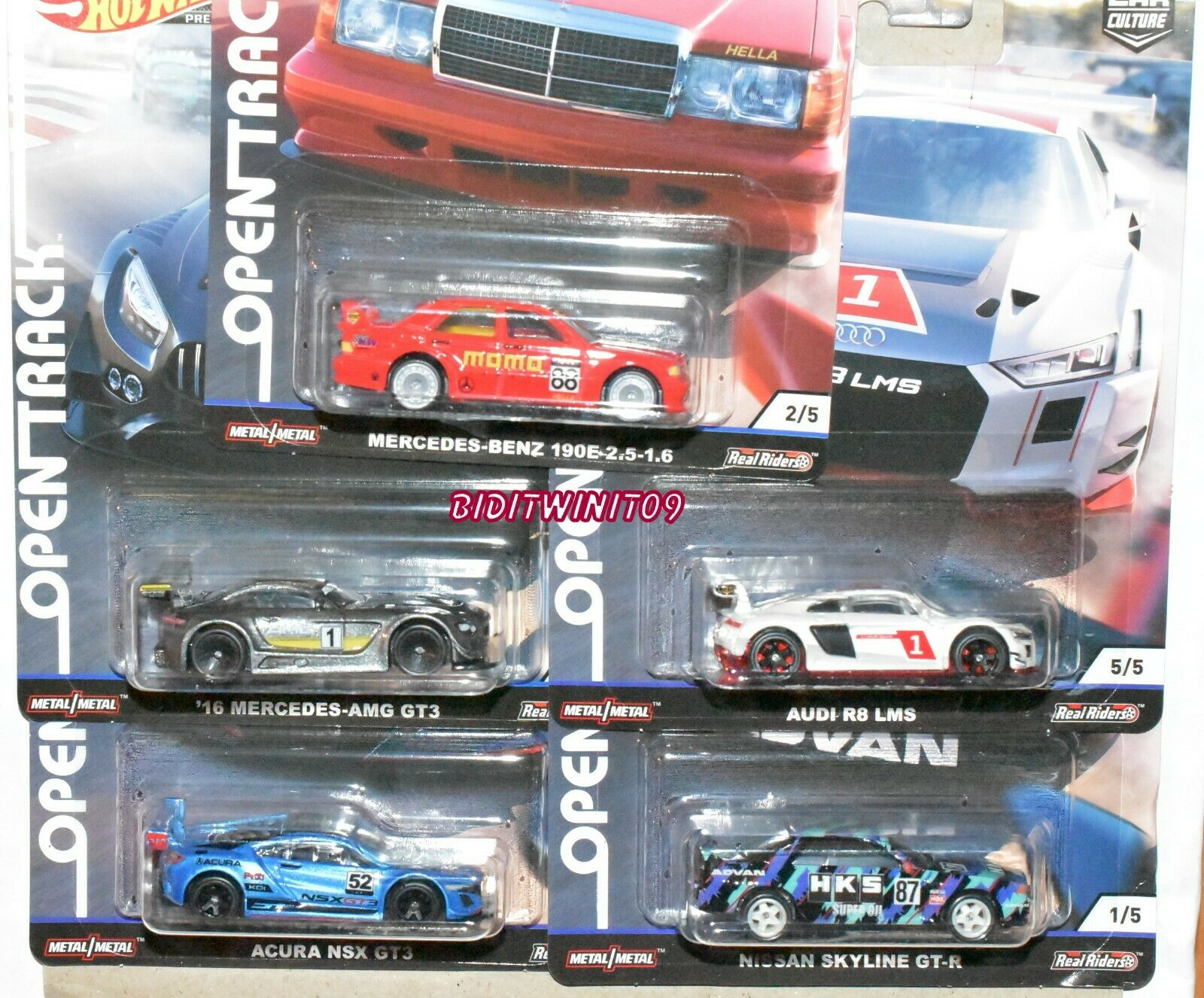 HOT WHEELS 2019 CAR CULTURE OPEN TRACK SET OF 5 NISSAN ACURA MERCEDES AUDI R8
