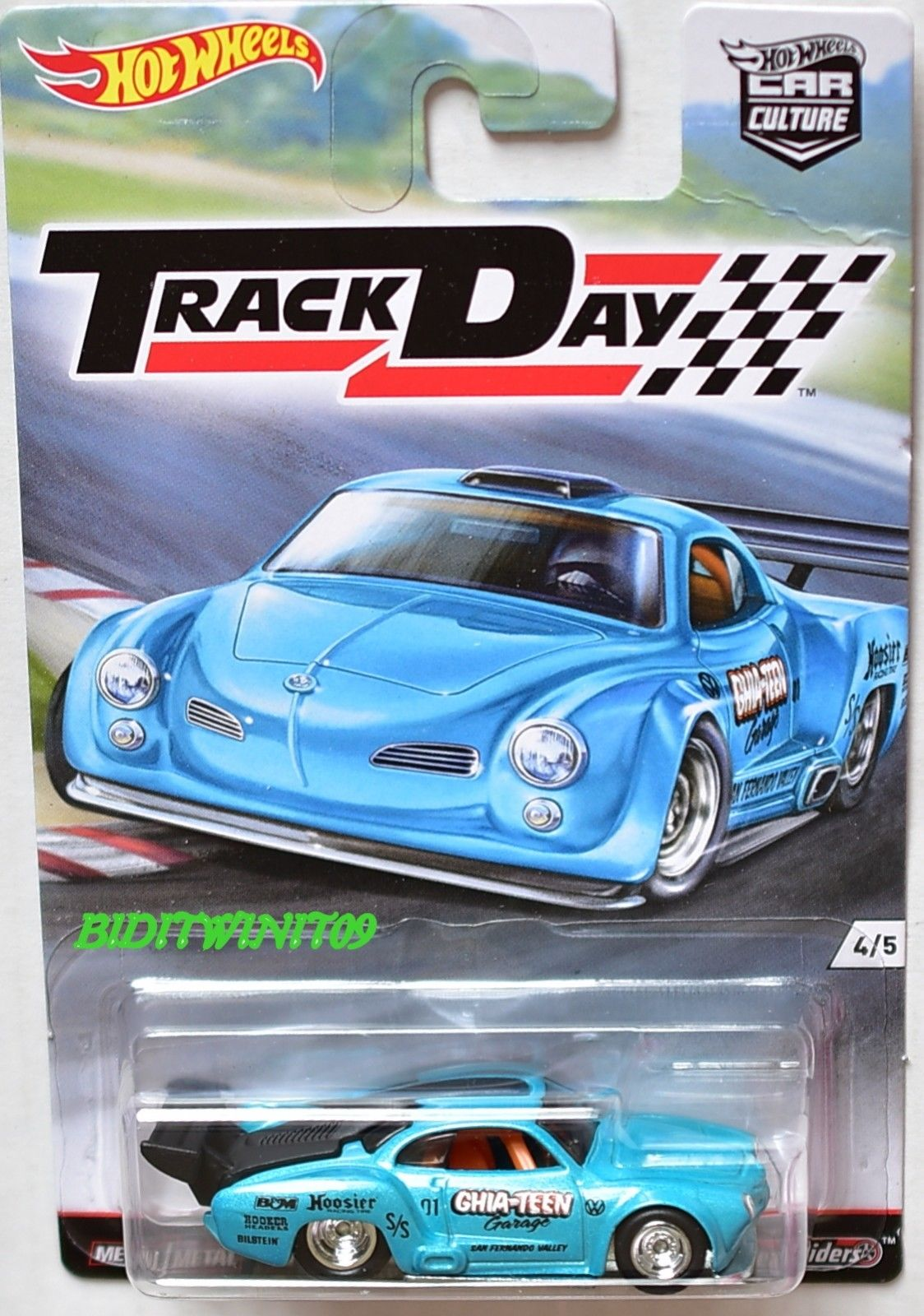HOT WHEELS 2016 CAR CULTURE TRACK DAY VOLKSWAGEN KARMANN GHIA #4/5 BENT CARD