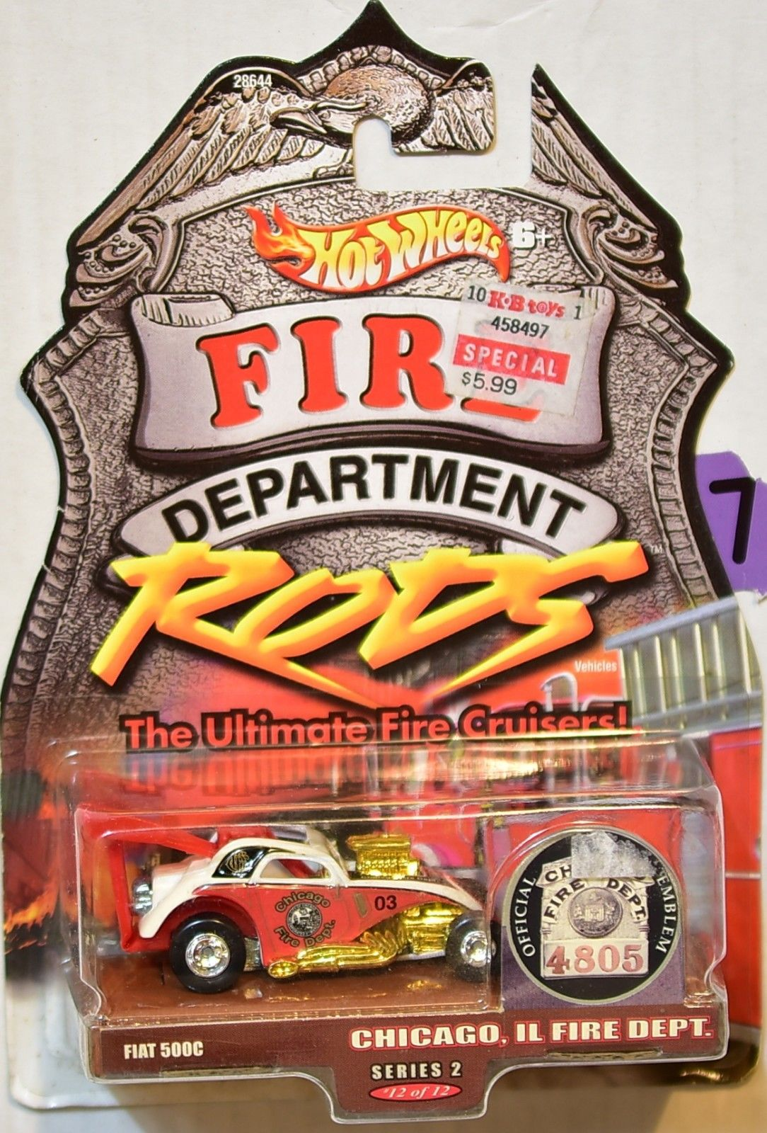 HOT WHEELS FIRE DEPARTMENT RODS CHICAGO, IL FIRE DEPT FIAT 500C #12/12