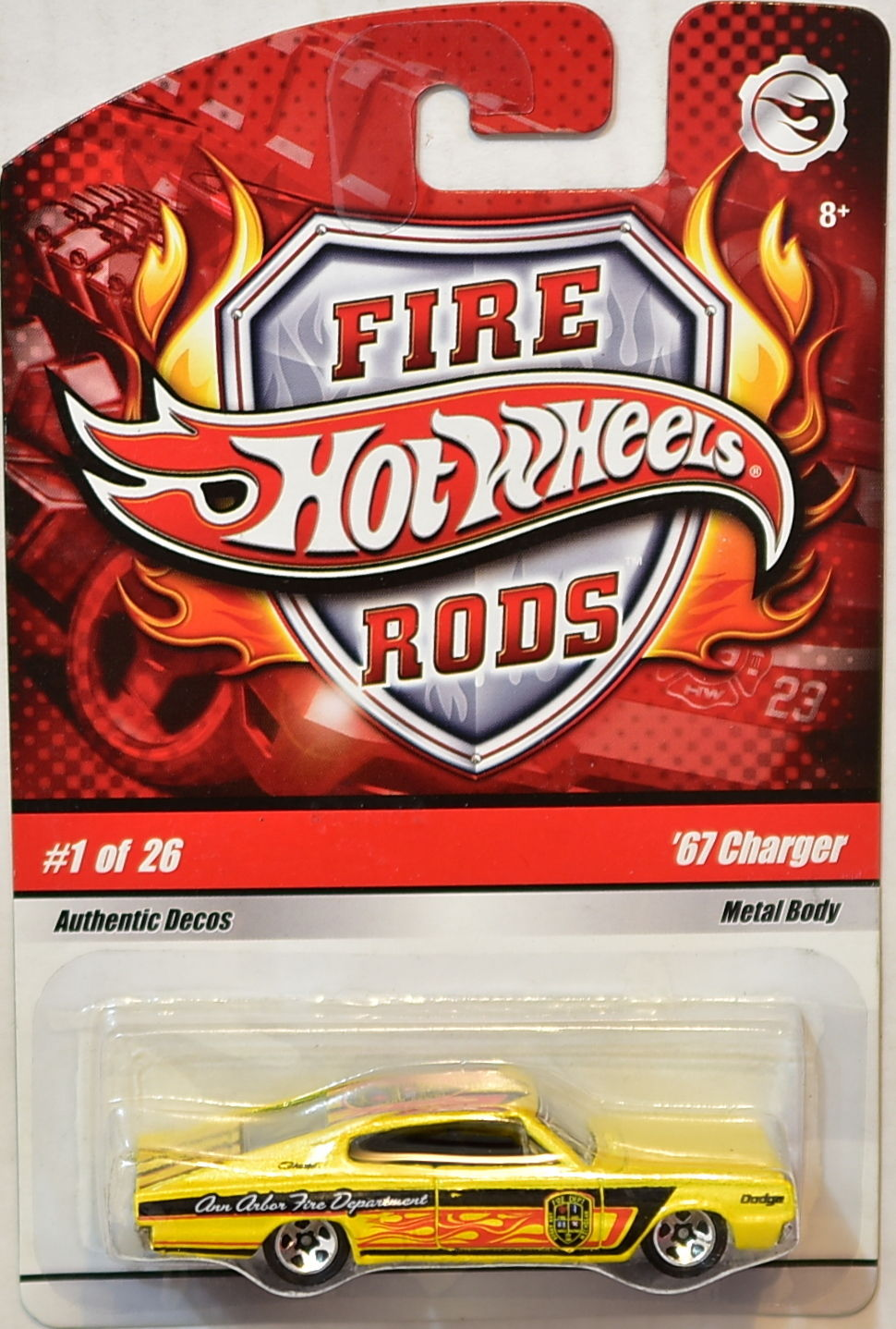 HOT WHEELS 2008 FIRE RODS '67 CHARGER #1/26 YELLOW