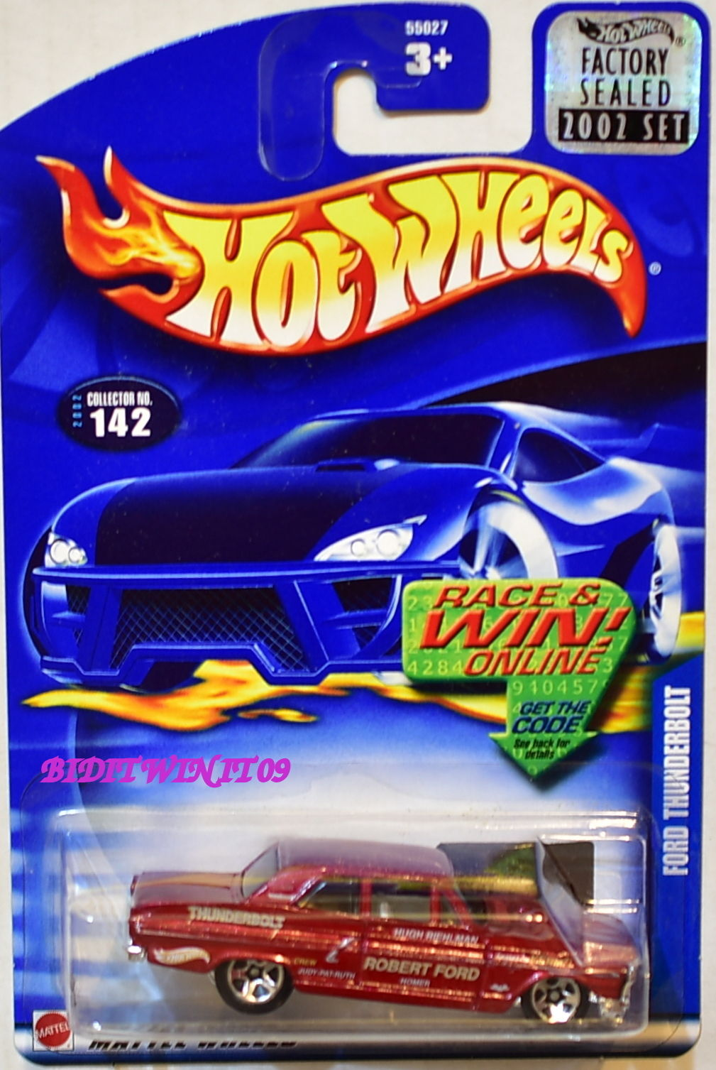 HOT WHEELS 2002 FORD THUNDERBOLT #142 RED FACTORY SEALED