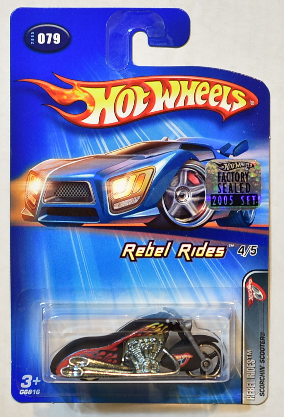 2005 Hot Wheels REBEL RIDES 4/5 SCORCHIN' SCOOTER #079 FACTORY SEALED