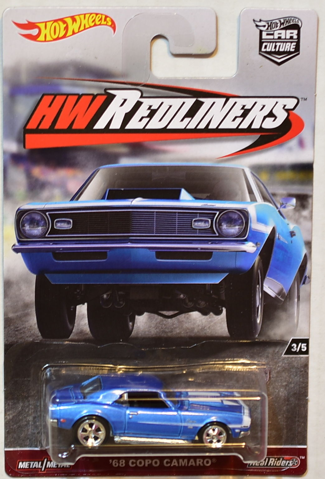 HOT WHEELS 2017 CAR CULTURE HW REDLINERS '68 COPO CAMARO BLUE #3/5