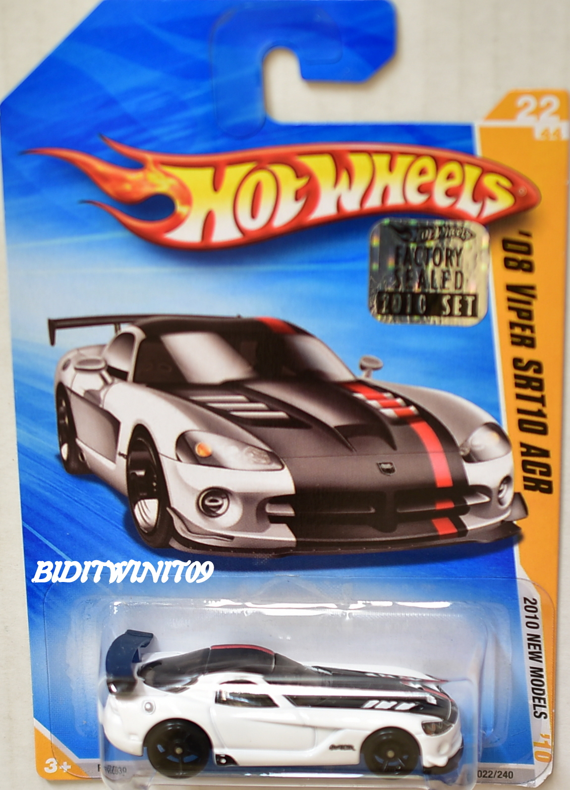 HOT WHEELS 2010 NEW MODELS '08 VIPER SRT10 ACR #22/44 WHITE FACTORY SEALED E+