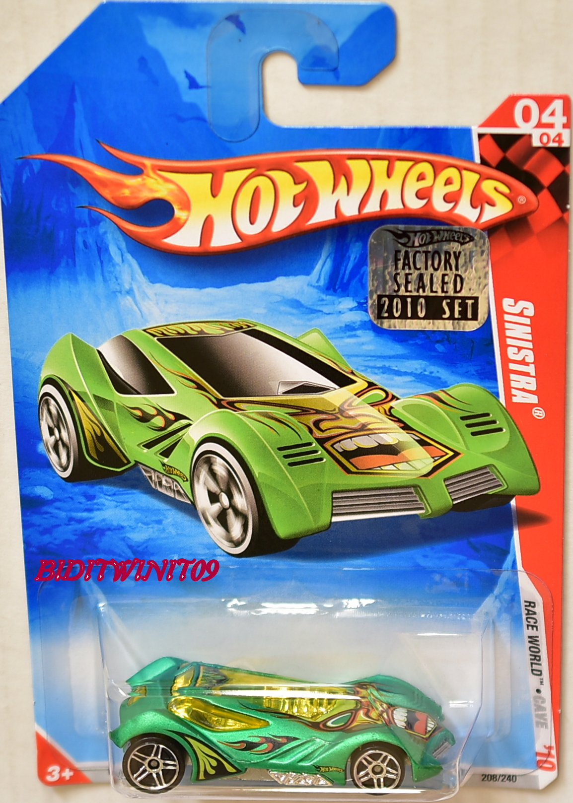 HOT WHEELS 2010 RACE WORLD SINISTRA #04/04 GREEN FACTORY SEALED E+