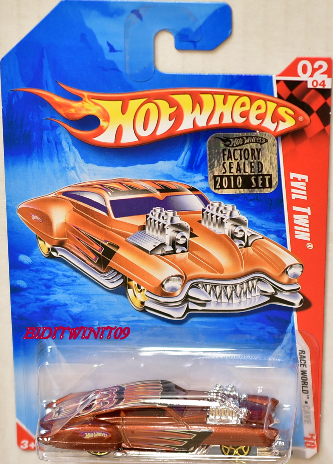 HOT WHEELS 2010 RACE WORLD EVIL TWIN #02/04 FACTORY SEALED E+