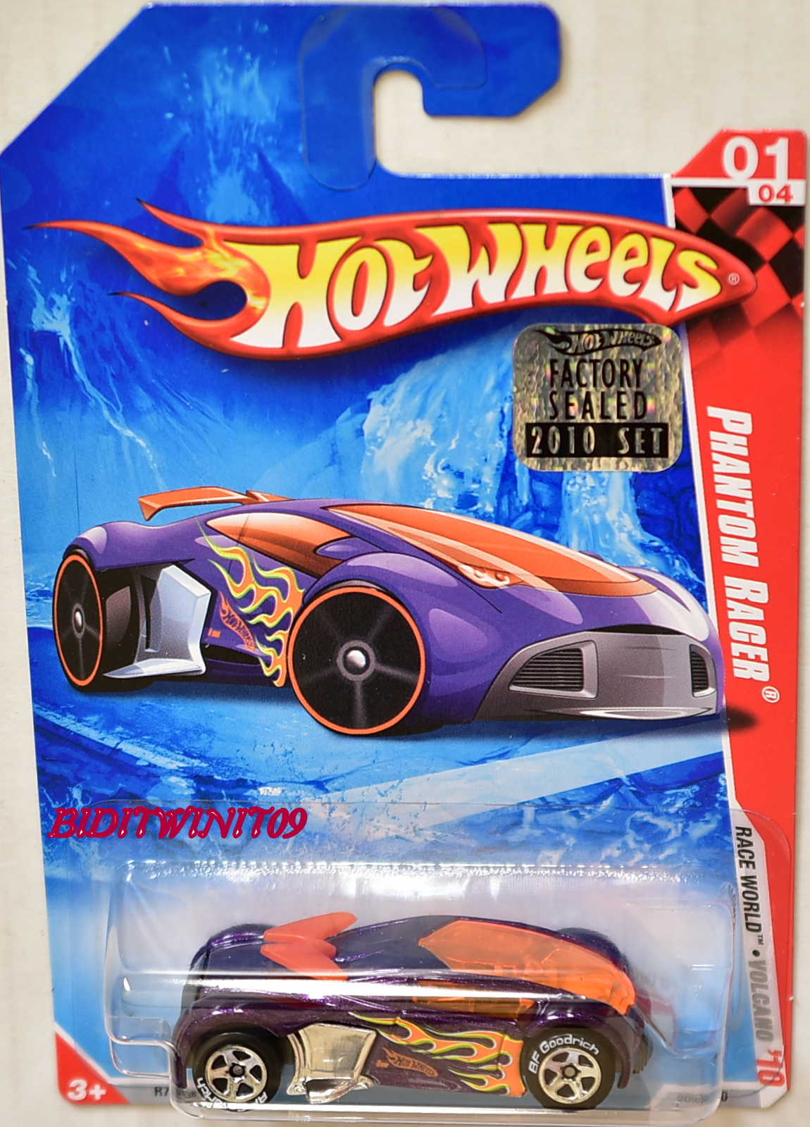HOT WHEELS 2010 RACE WORLD PHANTOM RACER W/ BF GOODRICH FACTORY SEALED E+