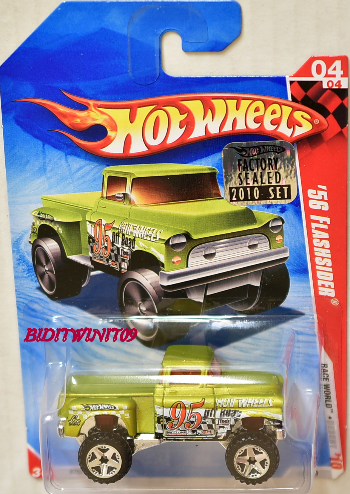 HOT WHEELS 2010 RACE WORLD '56 FLASHSIDER #04/04 FACTORY SEALED E+