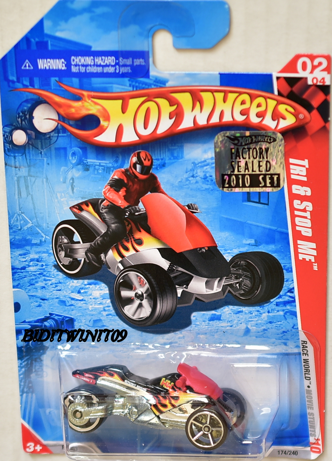 HOT WHEELS 2010 RACE WORLD TRI & STOP ME #02/04 FACTORY SEALED E+
